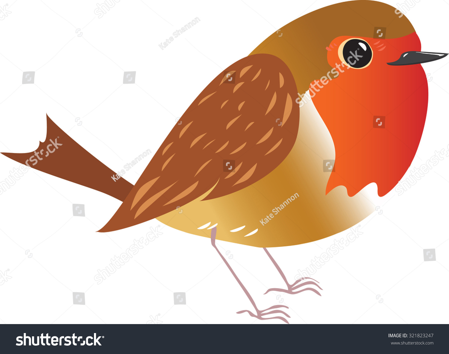 cartoon illustration robin redbreast bird stock vector 321823247