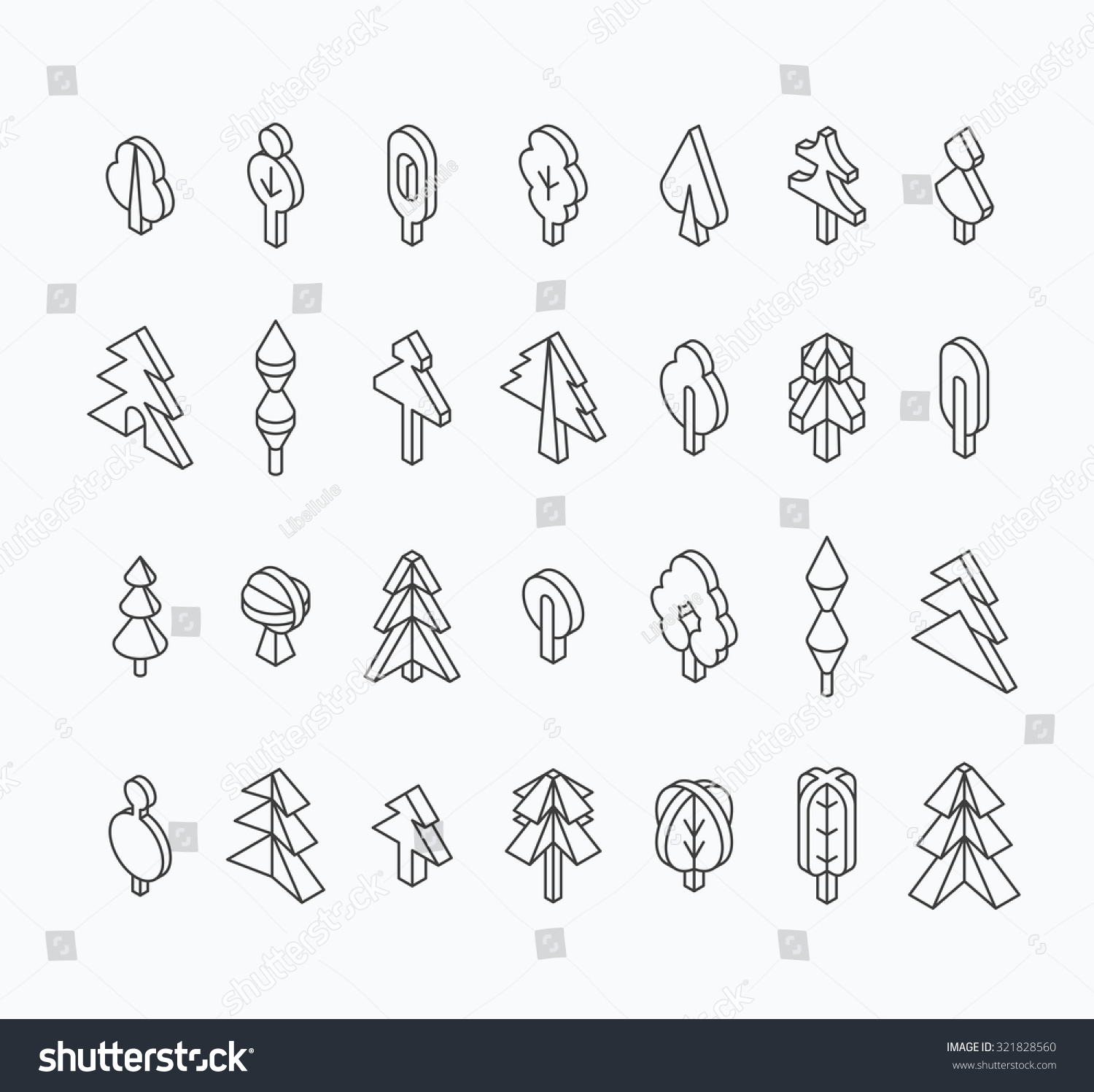 graphical tree set isometric line style stock vector 321828560