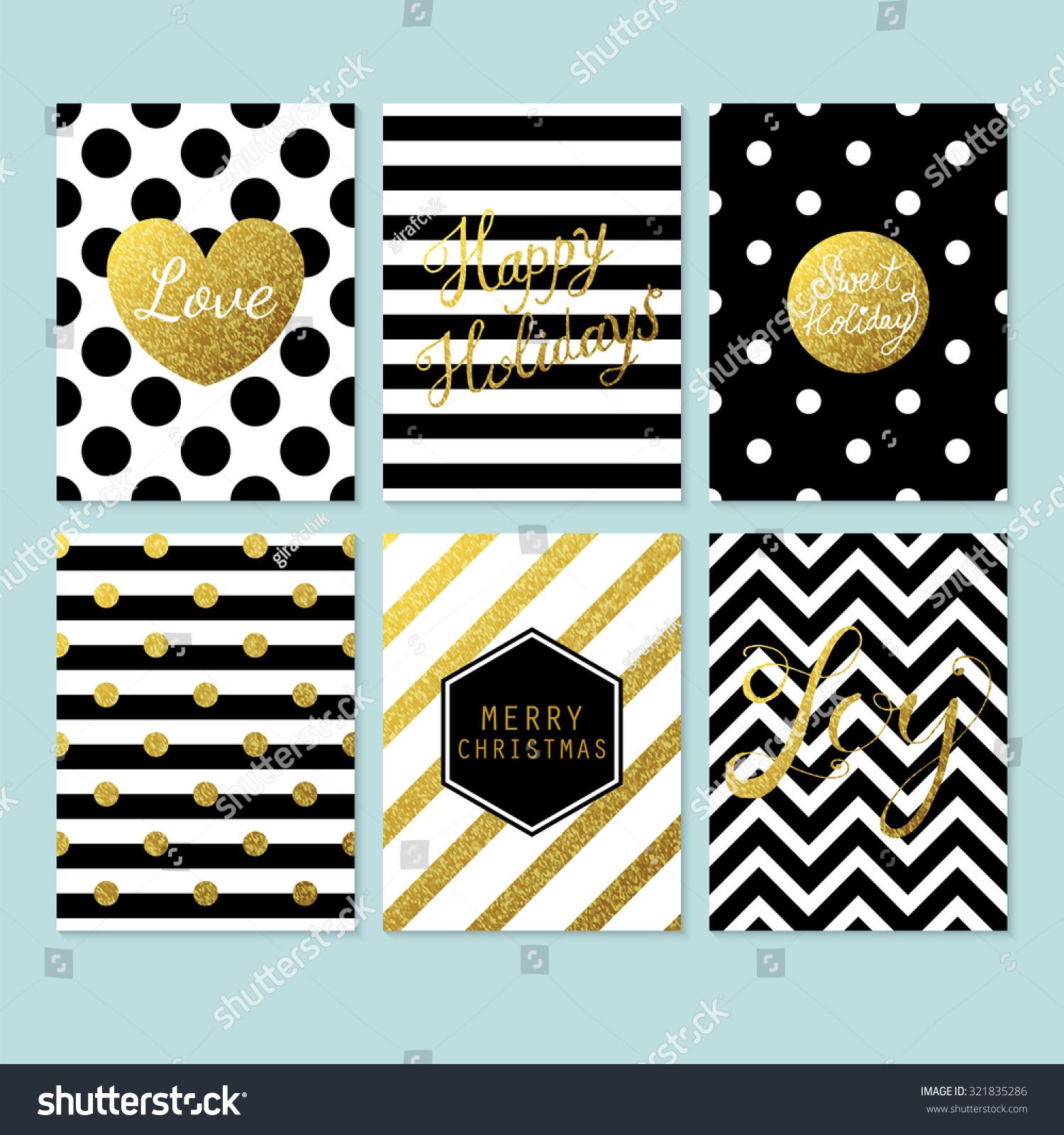 Creative Christmas Cards Modern Creative Christmas Cards Black Gold Stock Vector 321835286