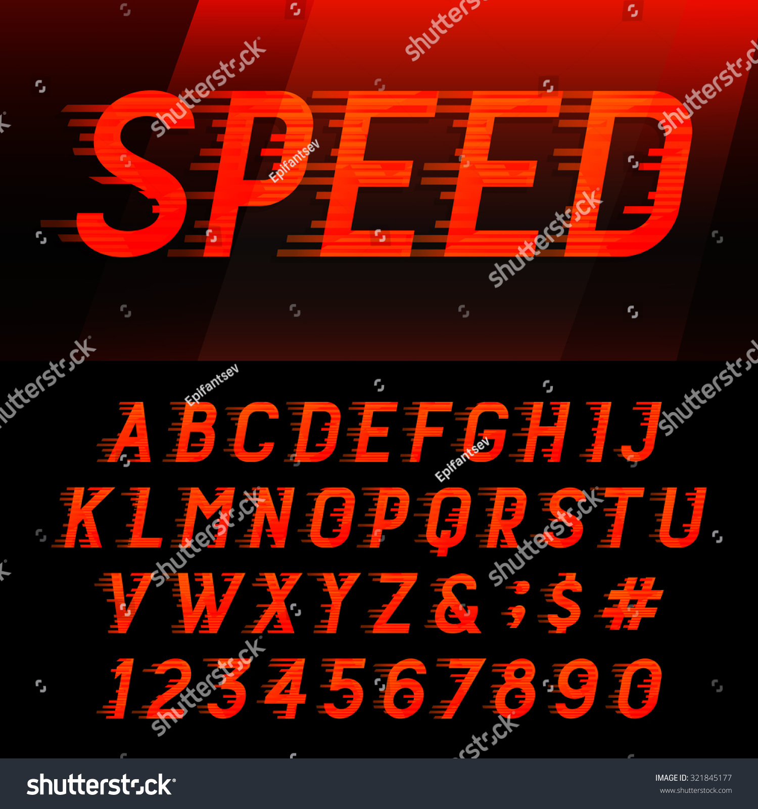 motion effect letters numbers and symbols vector typeset for headlines