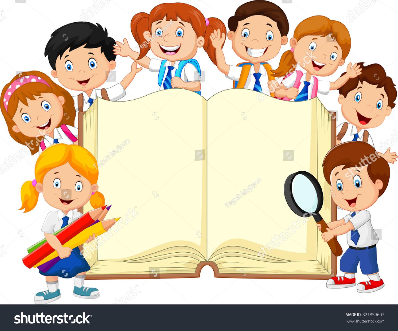 Kids Book Cover Background : Smiley little kids holding book on stock illustration
