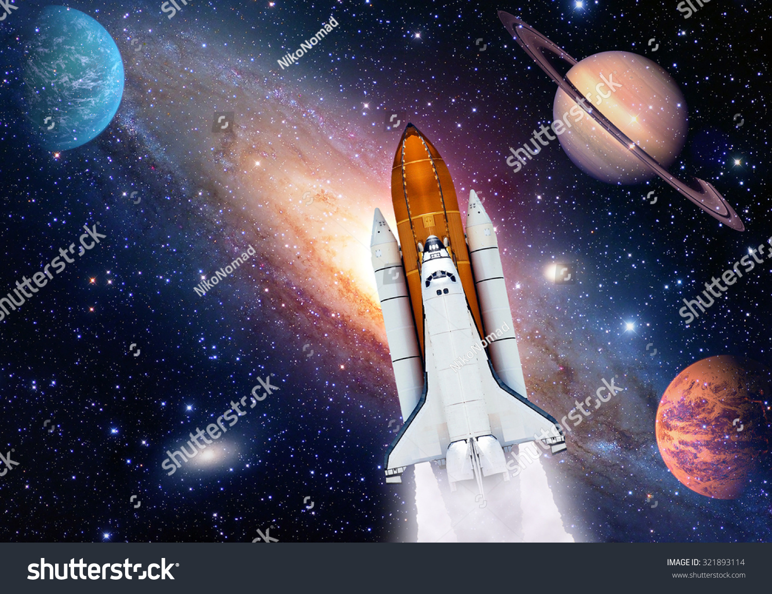 Outer space travel shuttle rocket launch stock photo for Outer space elements