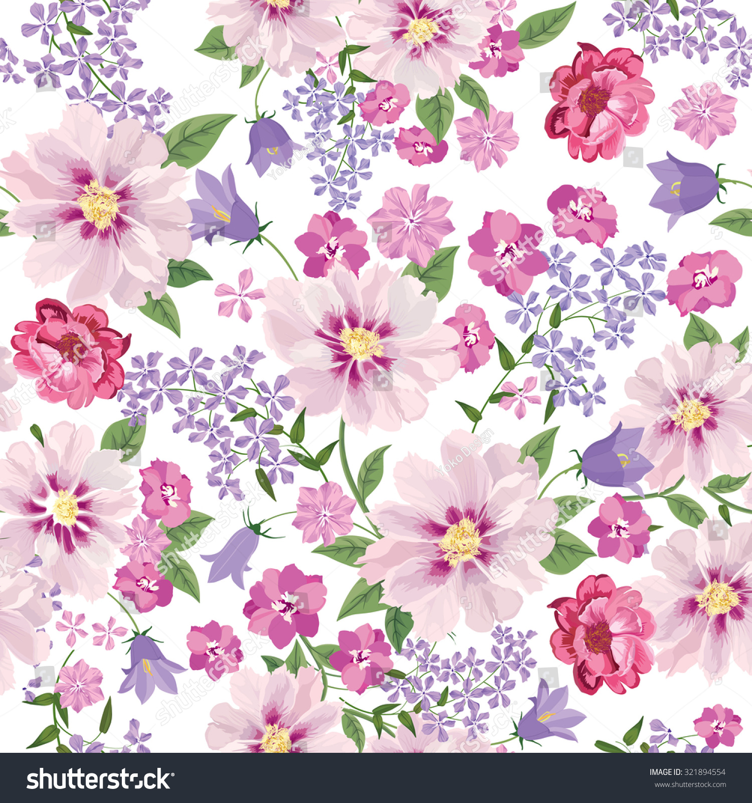 Floral Seamless Pattern Flower Background Floral Stock
