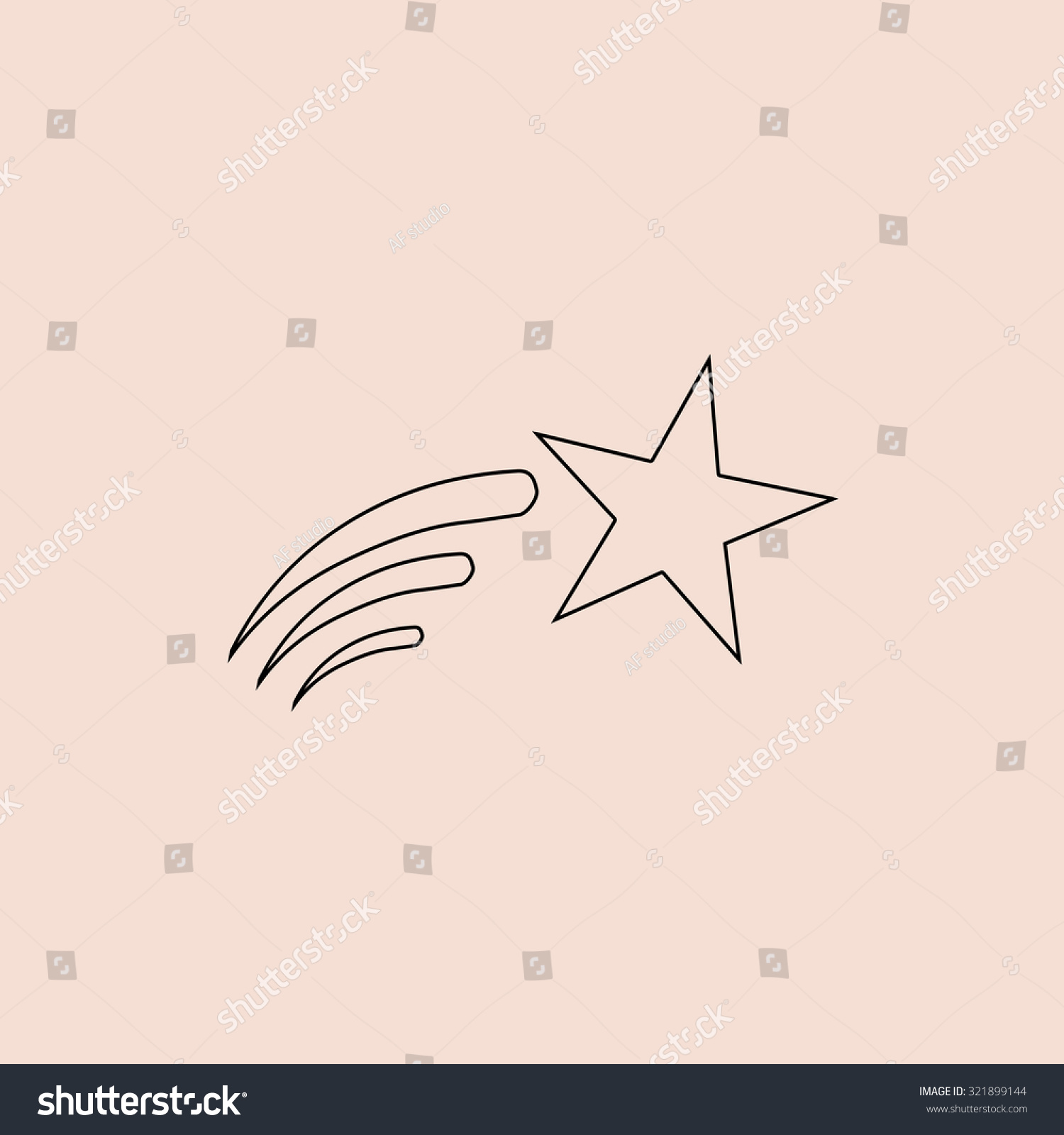 Shooting star outline icon simple flat stock illustration shooting star outline icon simple flat pictogram on pink background sciox Images