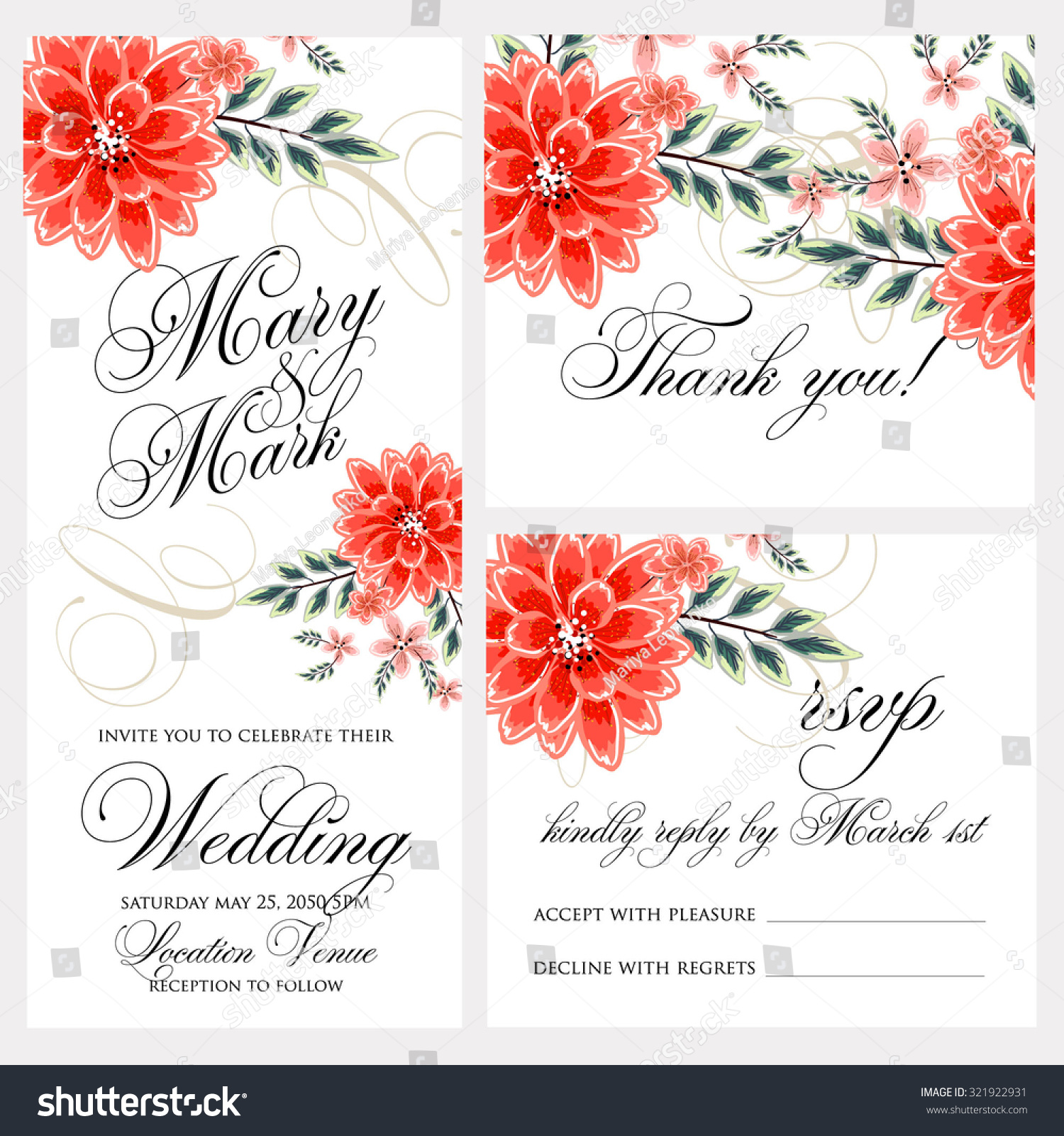 Wedding Invitation Thank You Card Save Stock Photo (Photo, Vector ...
