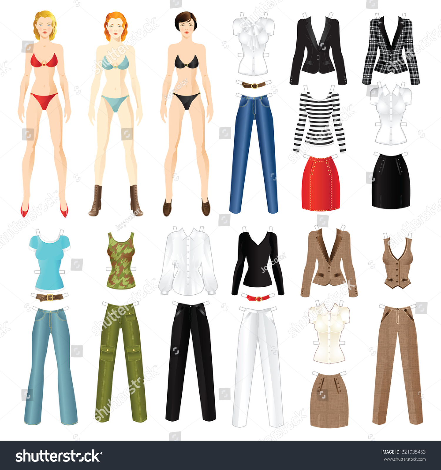 paper doll clothes office holiday body stock vector  paper doll clothes for office and holiday body template