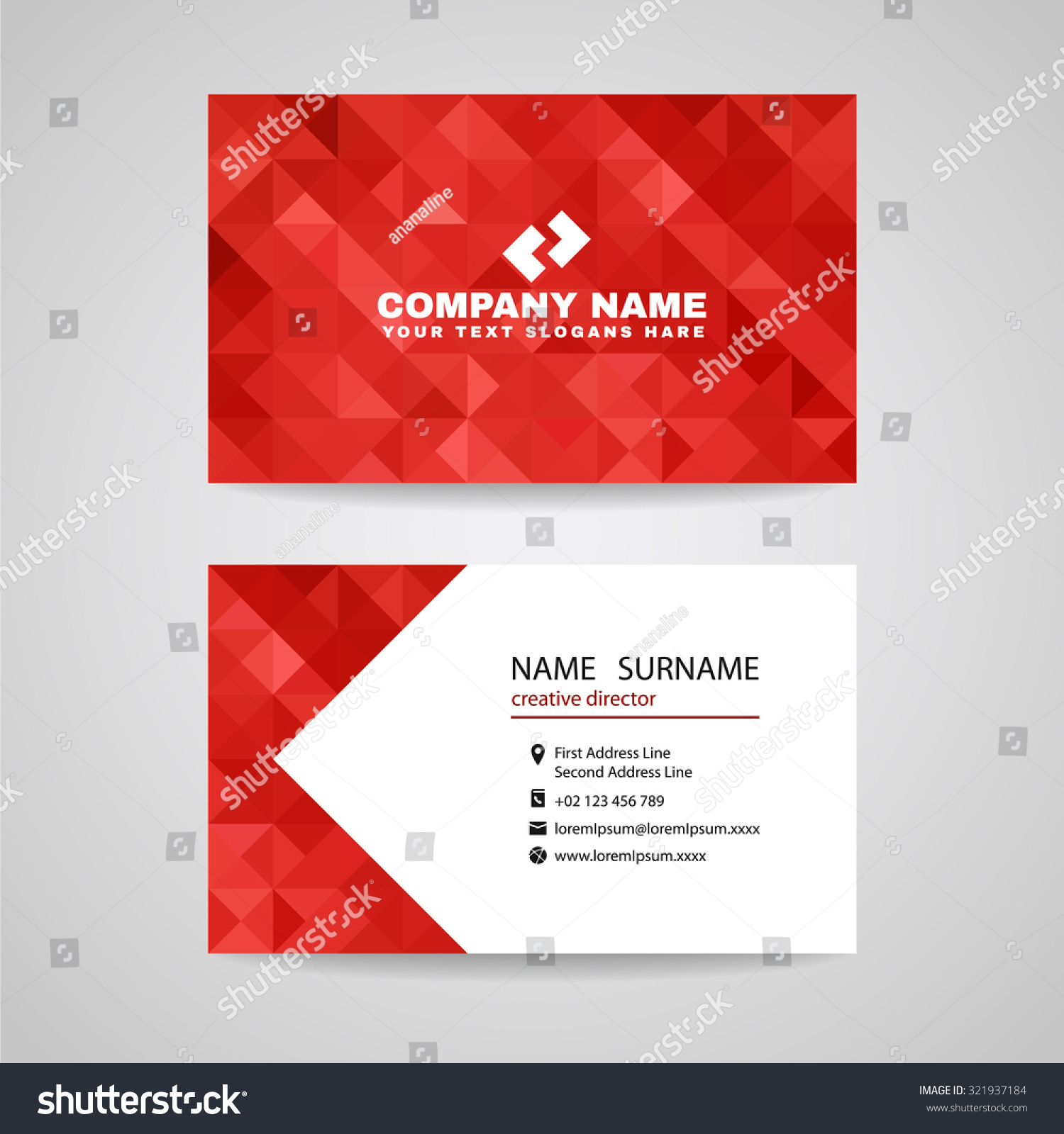 Business card red triangle crystal glass stock vector royalty free business card red triangle crystal glass abstract background design reheart Images