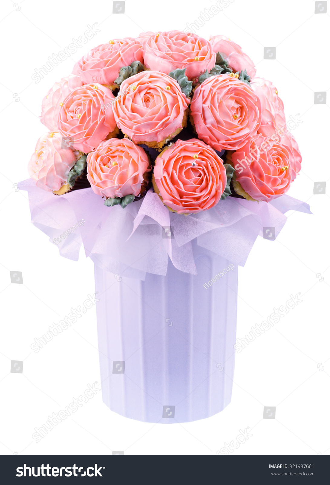 Cupcake Bouquet Pot On White Background Stock Photo Edit Now