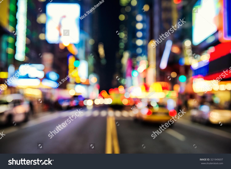 Blurred Street Illumination And Night Lights Of New York ...  Blurred Street ...