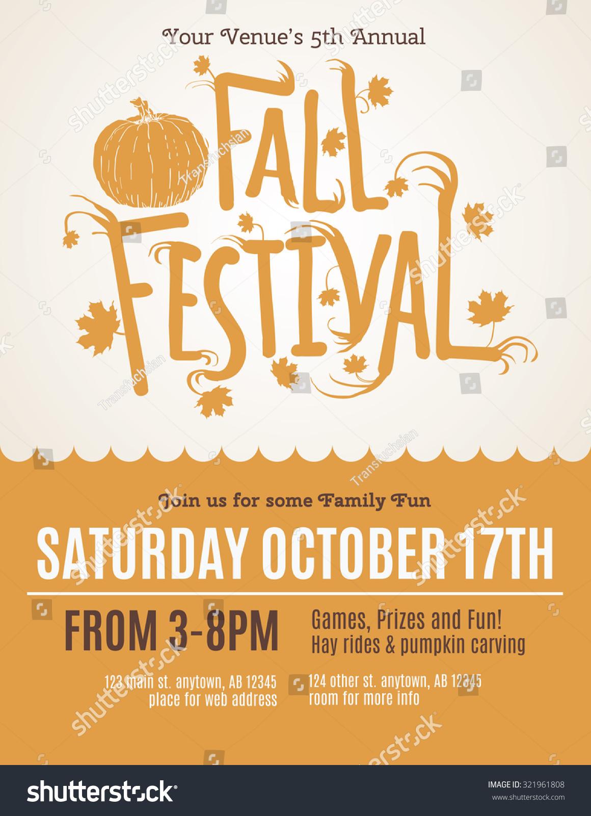 fun fall festival invitation flyer stock vector  fun fall festival invitation flyer