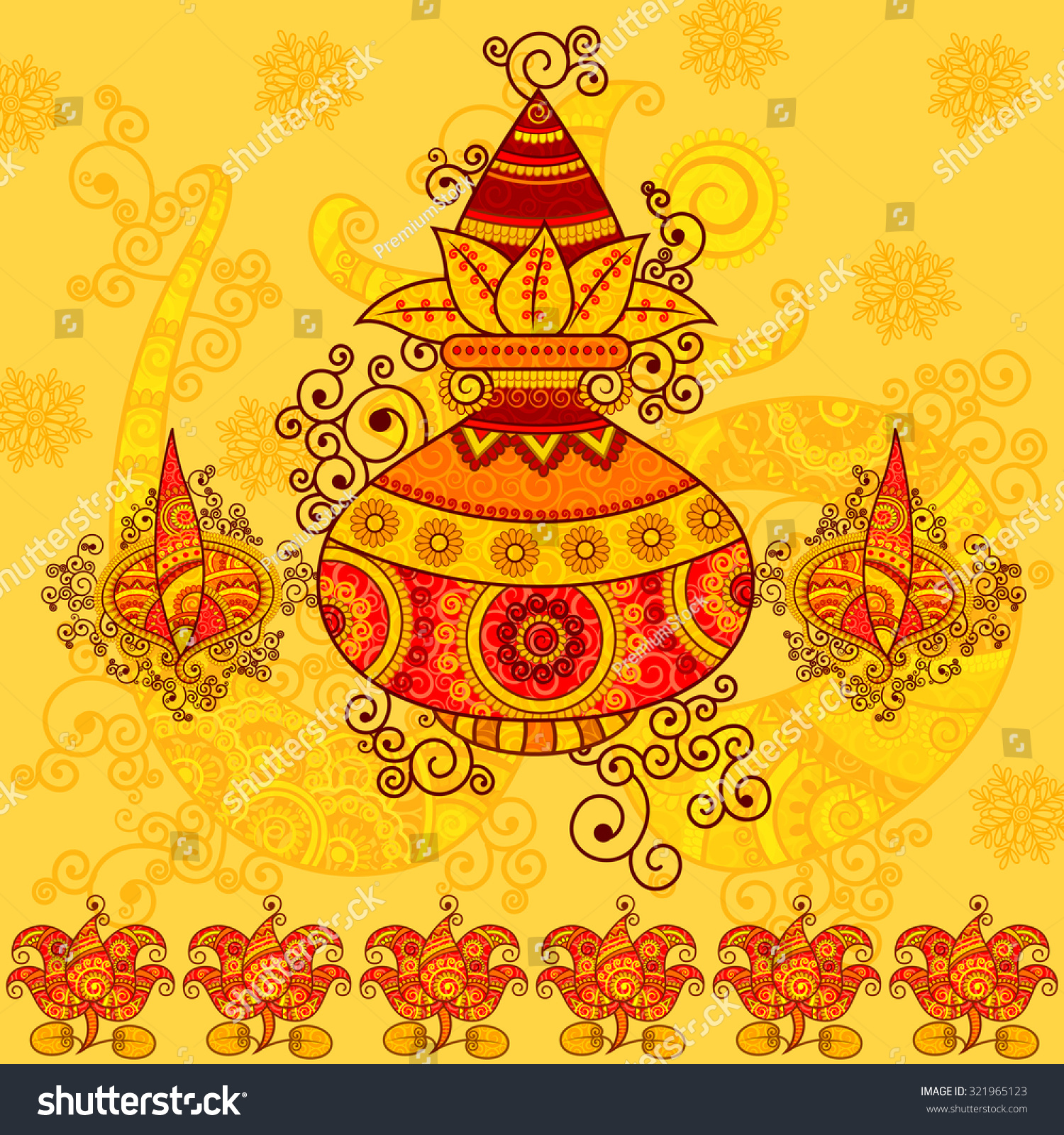 Vector Design Of Kalash With Coconut, Mango Leaves And ...