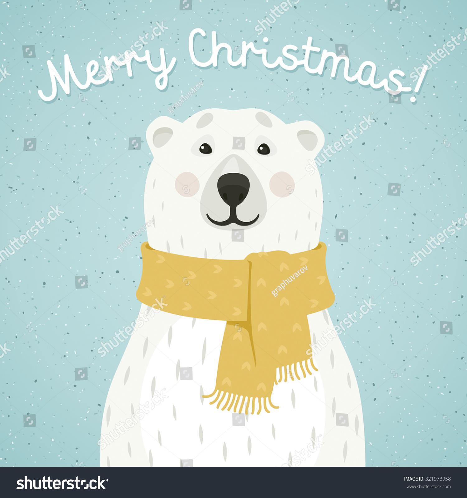 Christmas Card Polar Bear Scarf Stock Vector (Royalty Free ...