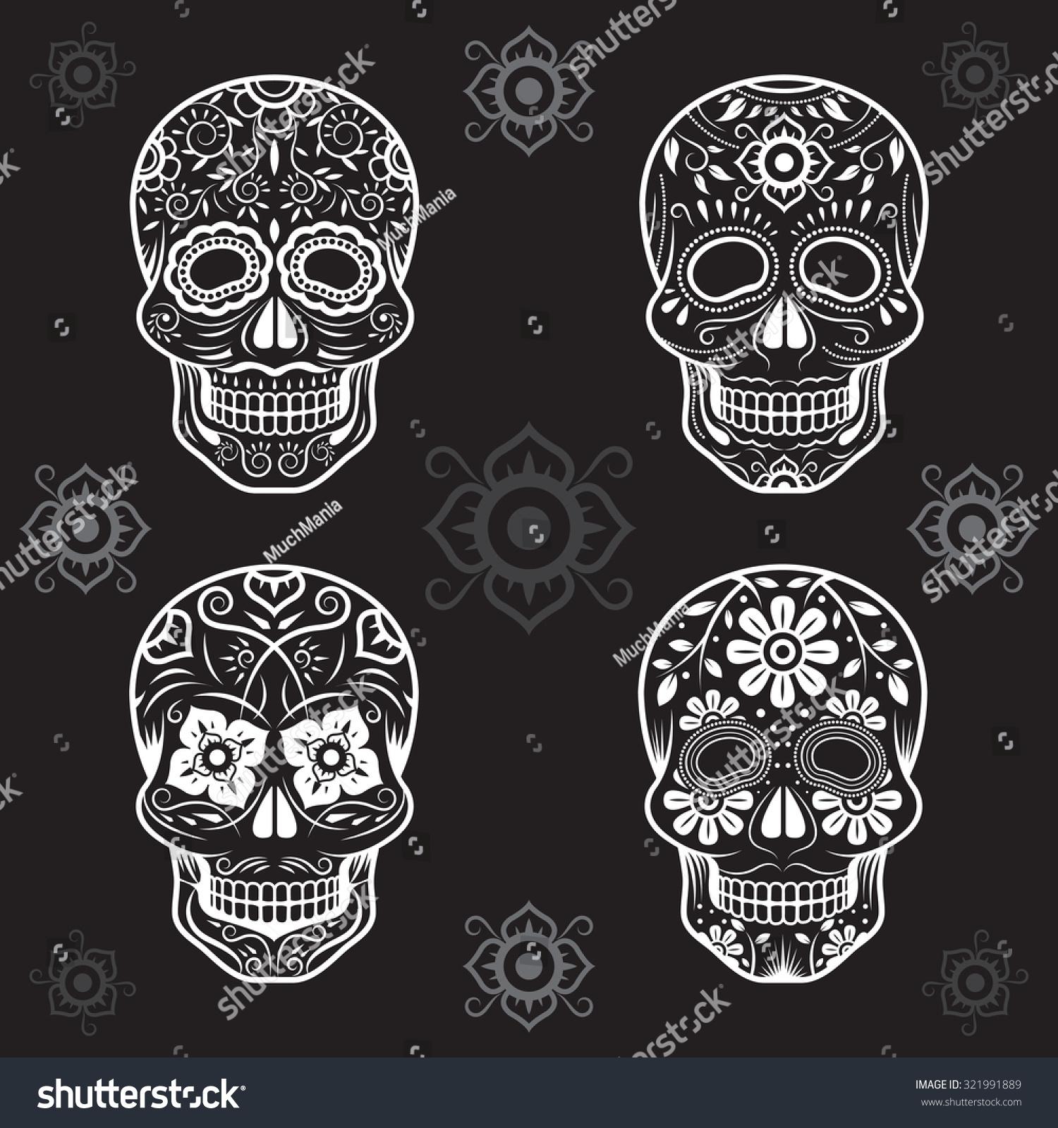 Day of the Dead Skulls Black and White Set White or Light