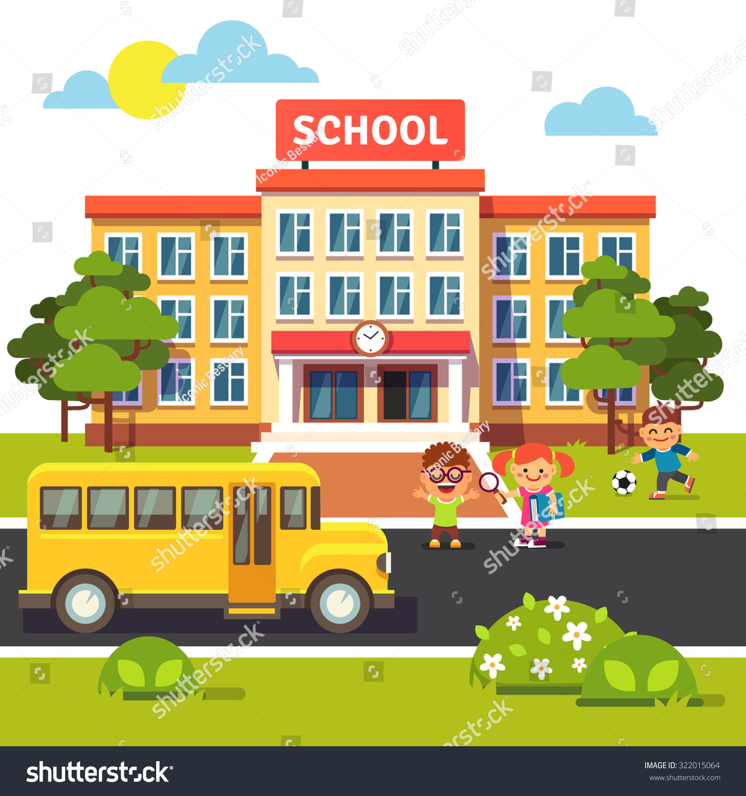 school building bus front yard students stock vector 322015064