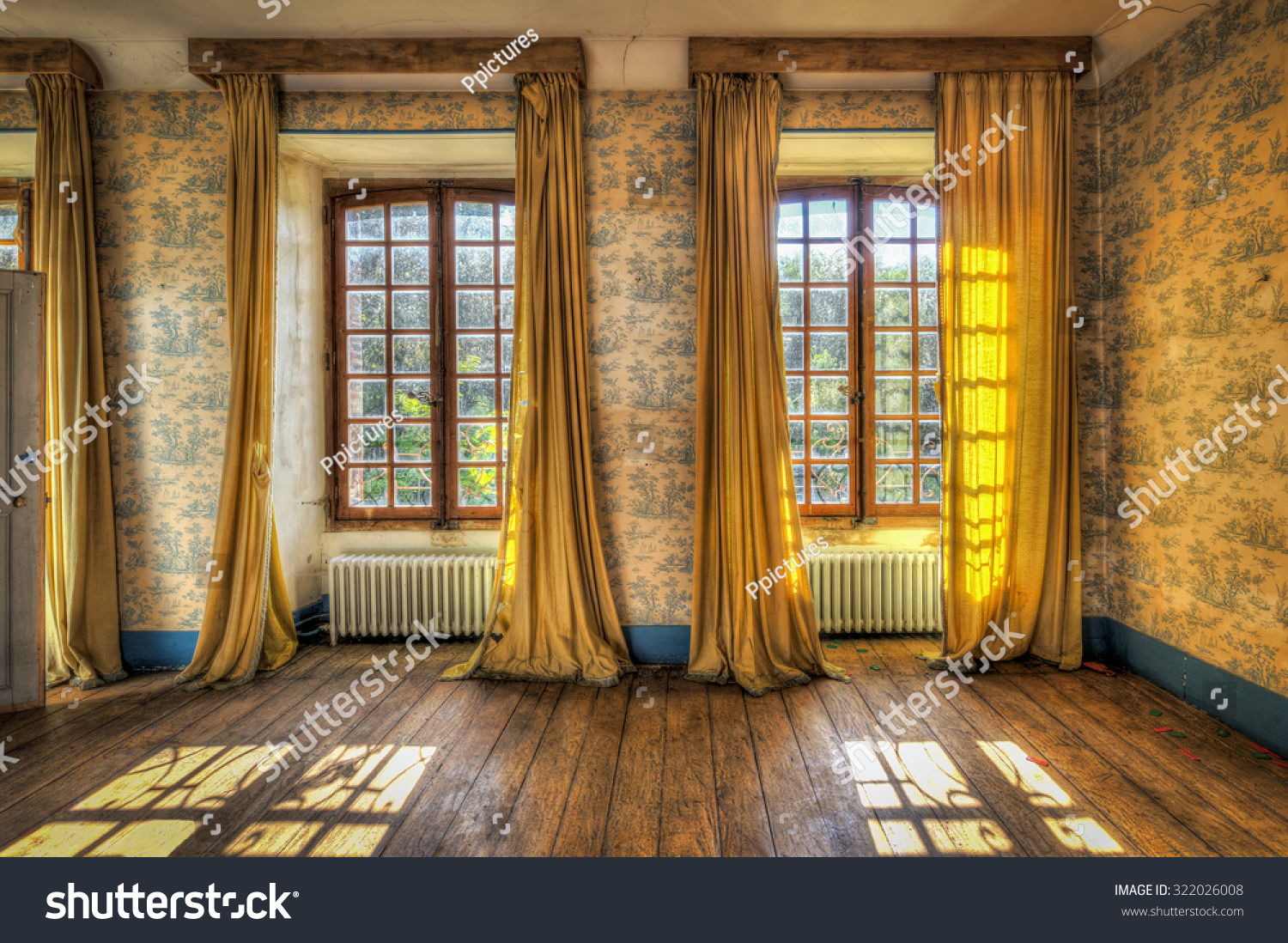 windows yellow curtains abandoned castle hdr stock photo 322026008