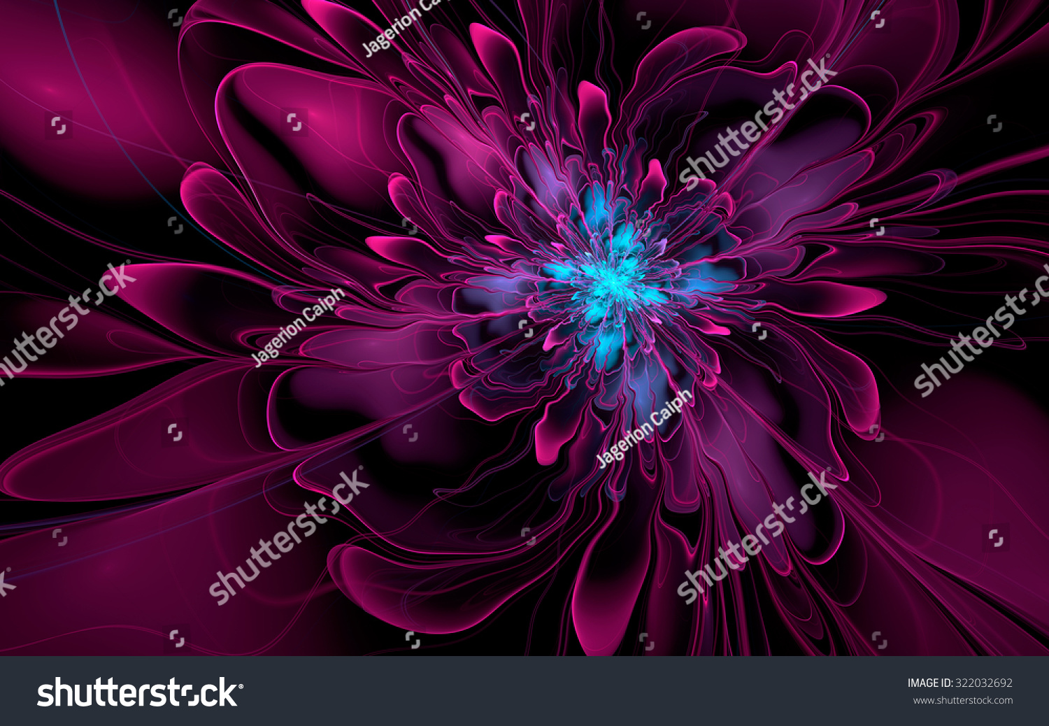 Abstract Fractal Purple Cyan Silky Flower On Black Background For Desktop Wallpaper Or