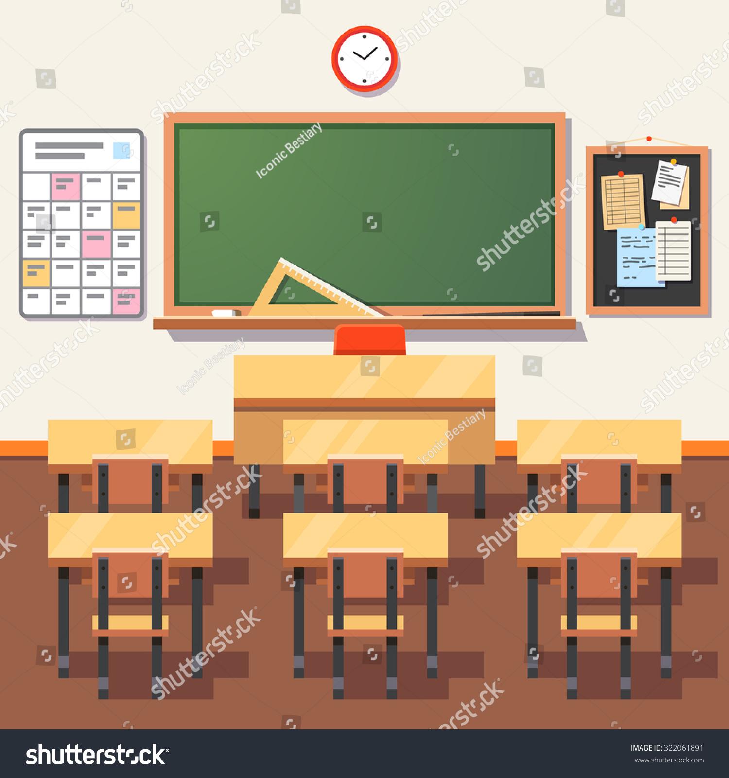 Empty School Classroom Green Chalkboard Teachers Stock Vector