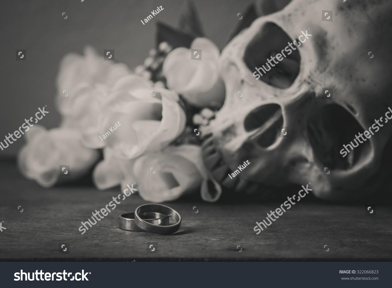 Black white photography rings human skull stock photo edit now