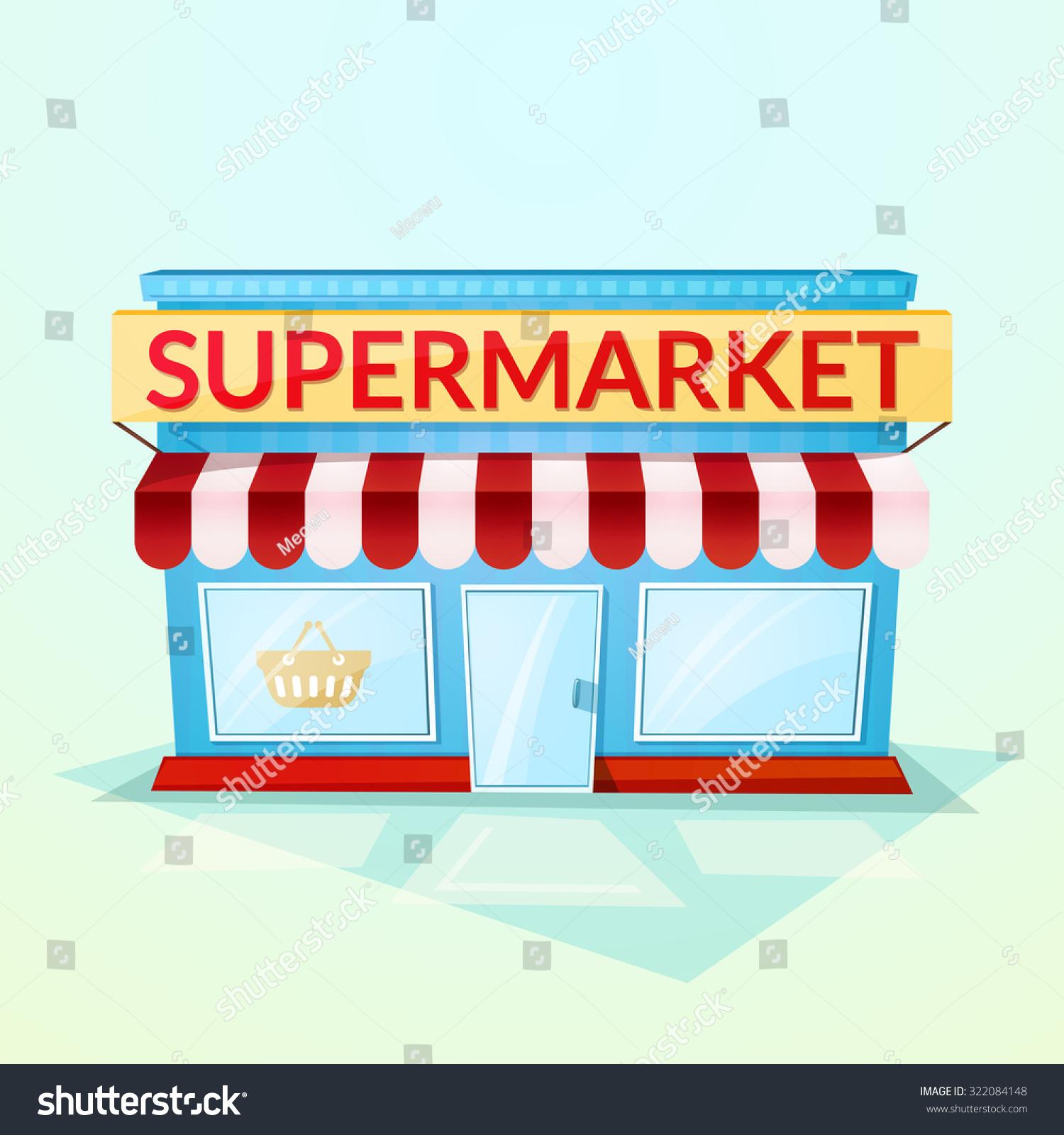 Facade Grocery Store Beautiful Bright Cartoon Stock Vector ...