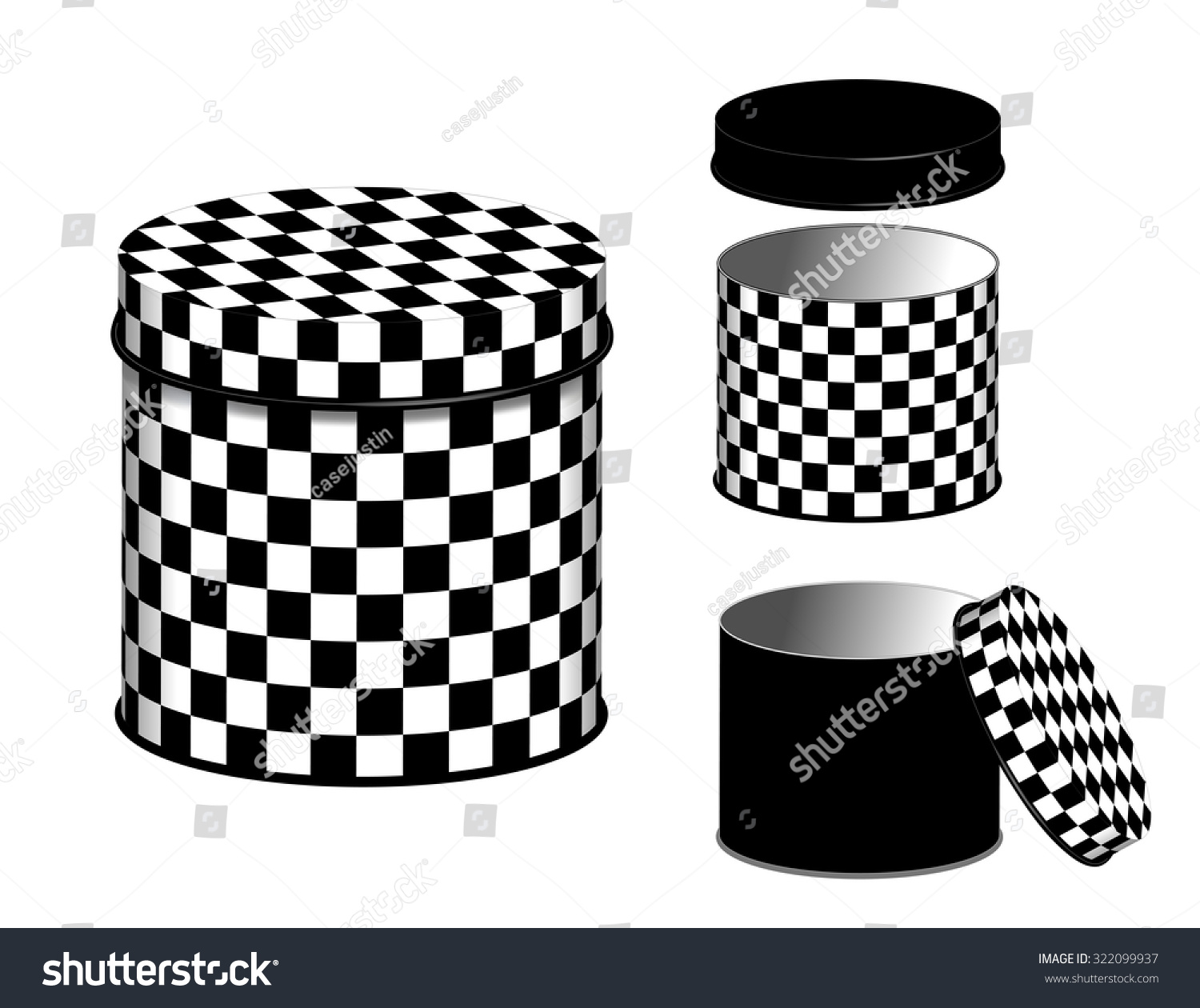 Kitchen Canisters Checkerboard Design Food Storage Stock Illustration 322099937