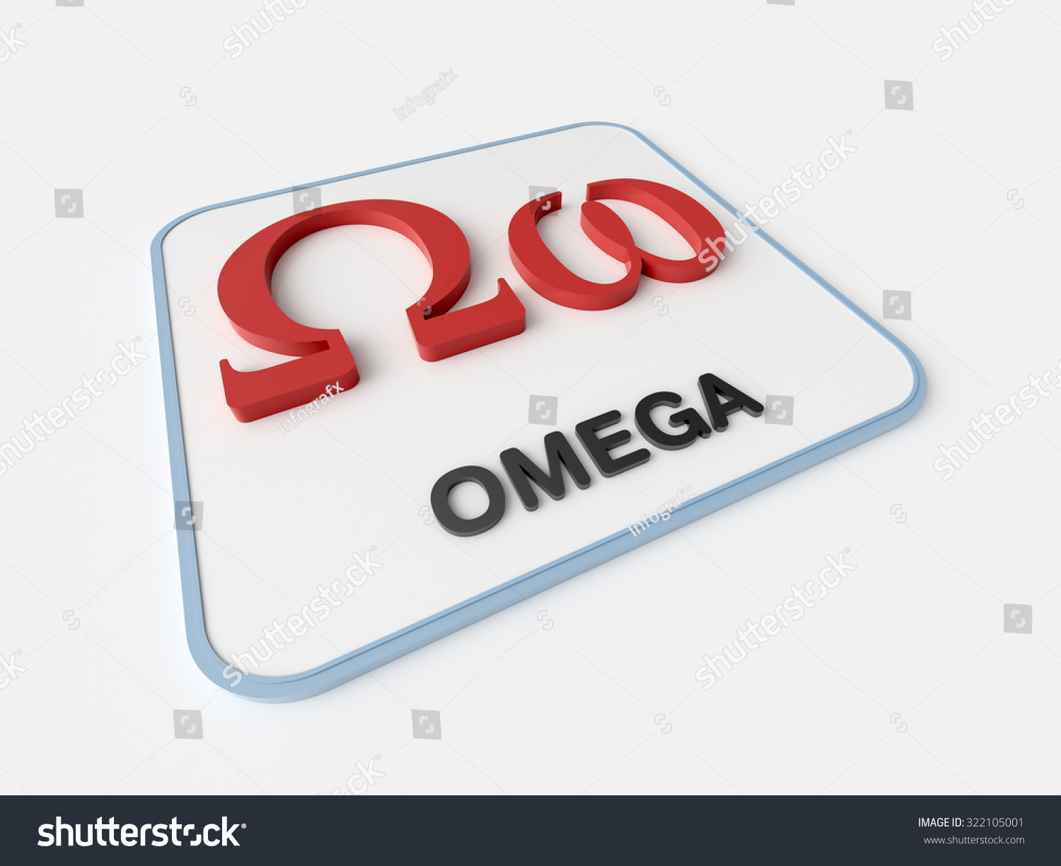 Omega Greek Symbol On White Display Board Science And Mathematical