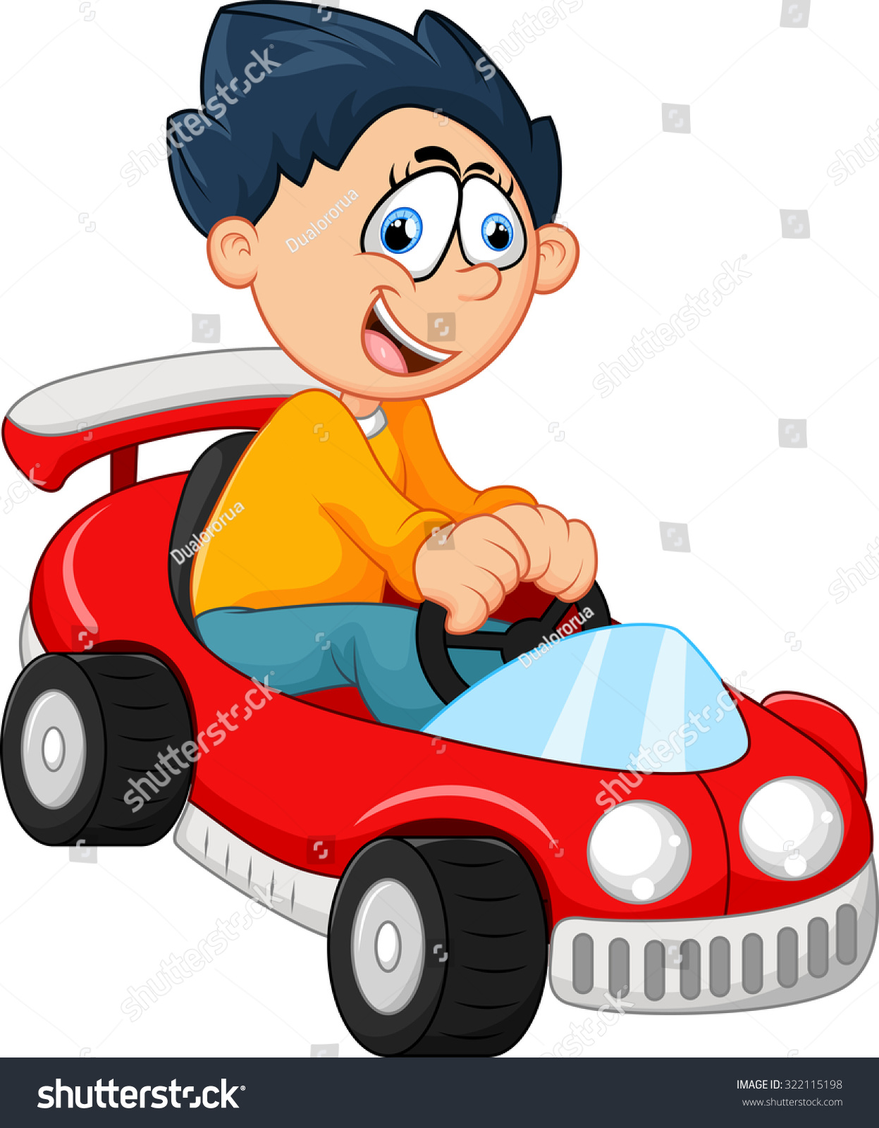 Little Boy Playing His Car Toy Stock Illustration