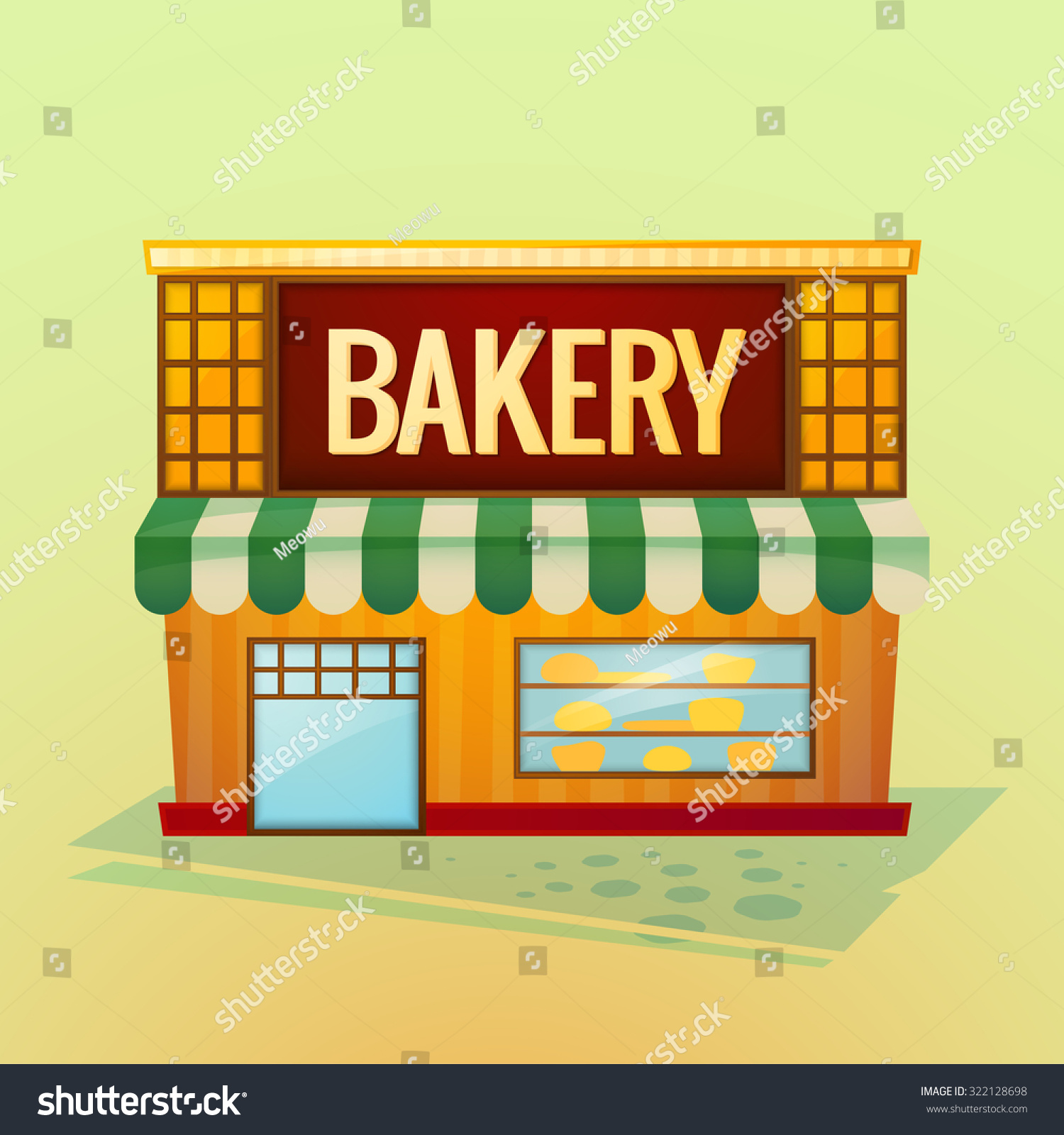 Facade Bakery Shop Beautiful Bright Cartoon Stock Vector