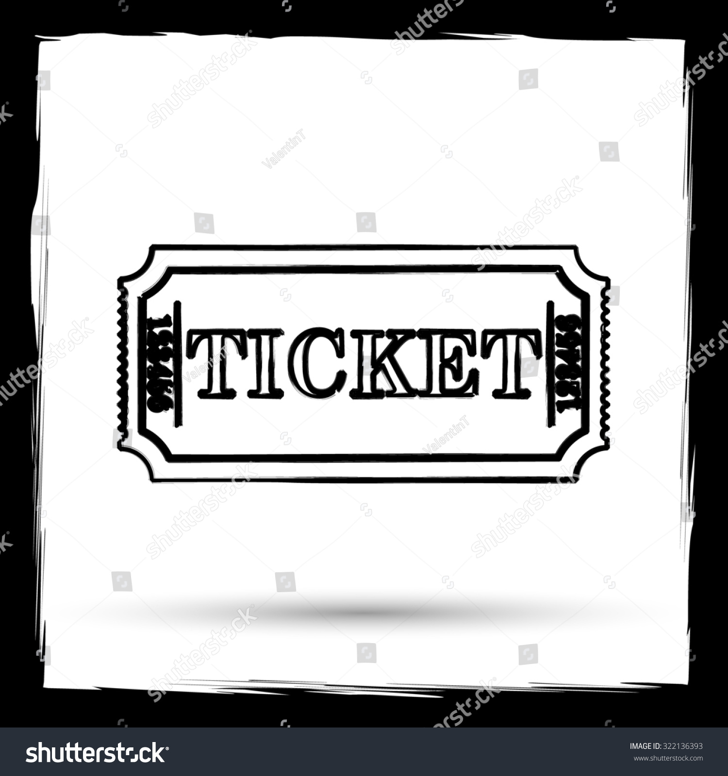 cinema ticket icon internet button on white background outline save to a lightbox