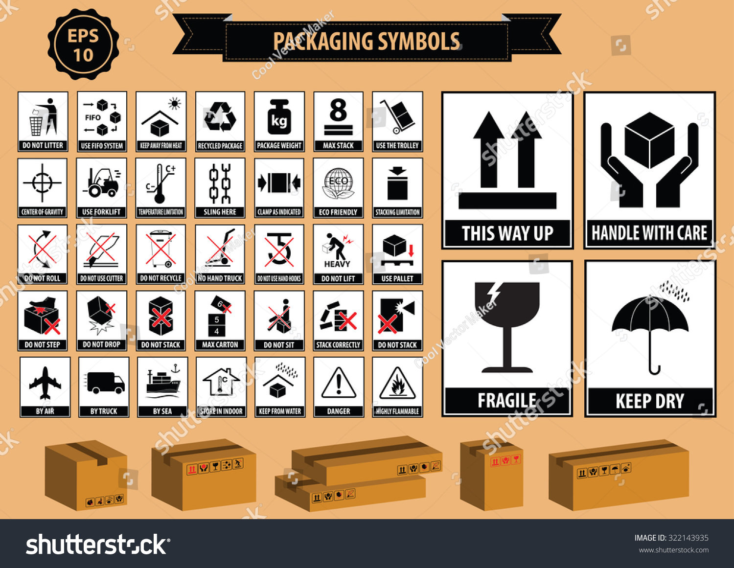 Set of packaging symbols this side up handle with care for Set up meaning