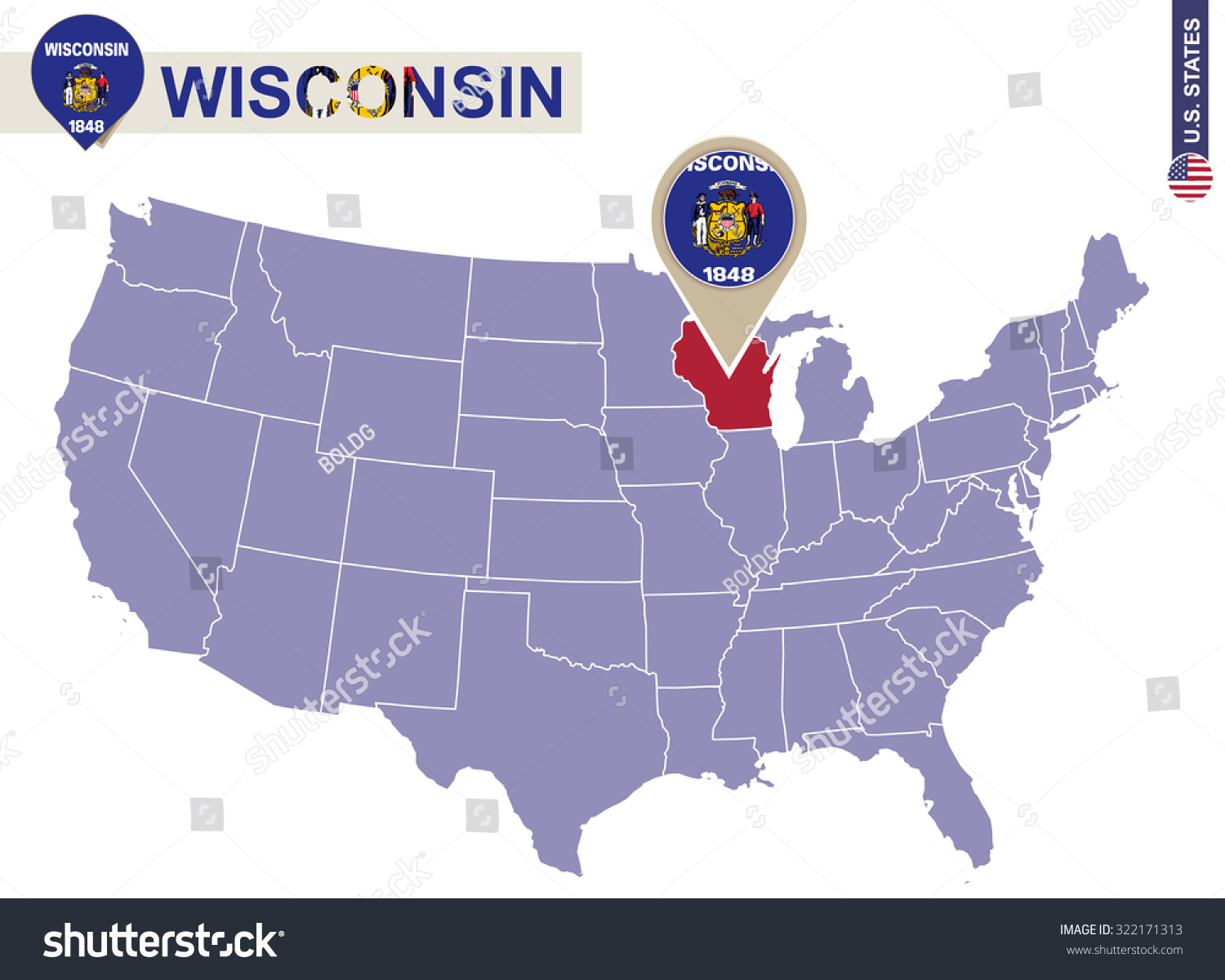 Wisconsin State On Usa Map Wisconsin Stock Vector 322171313