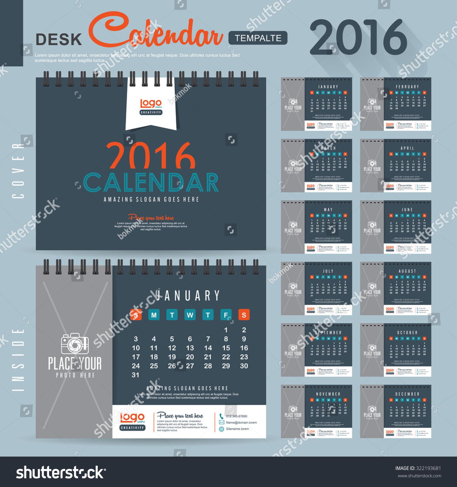 Calendar Design Pattern : Desk calendar vector design template stock