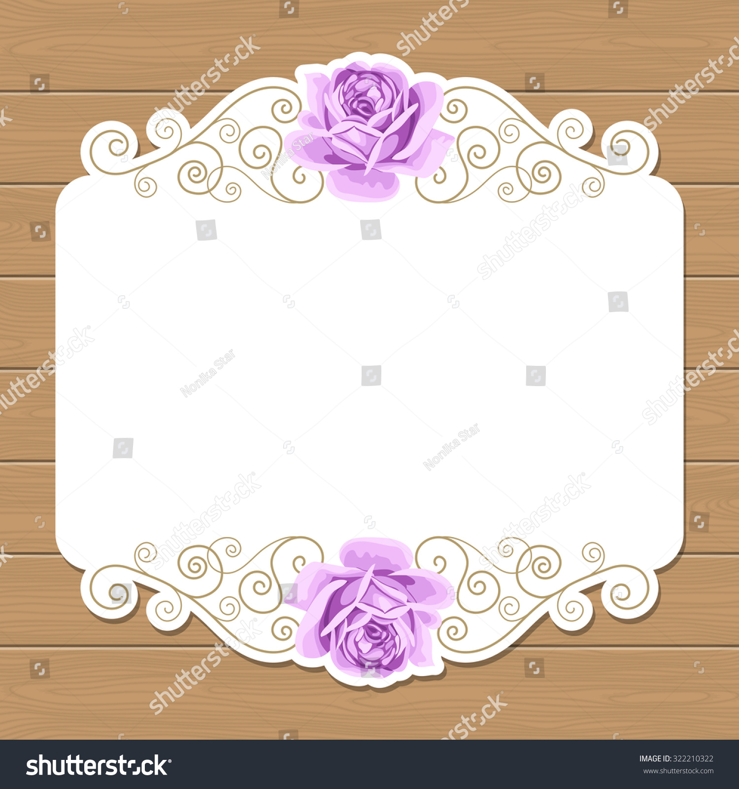 Wood Background With Hand Draw Roses And Gold Curly Design