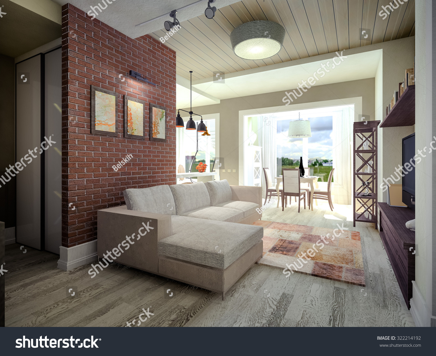 3D Visualization Of A Living Room With Brick Wall