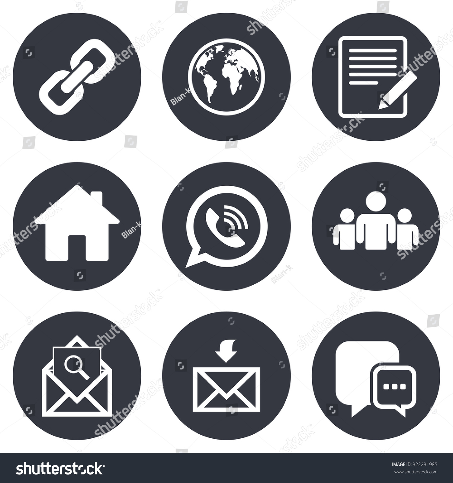 Communication Icons Contact Mail Signs Email Stock Vector 322231985