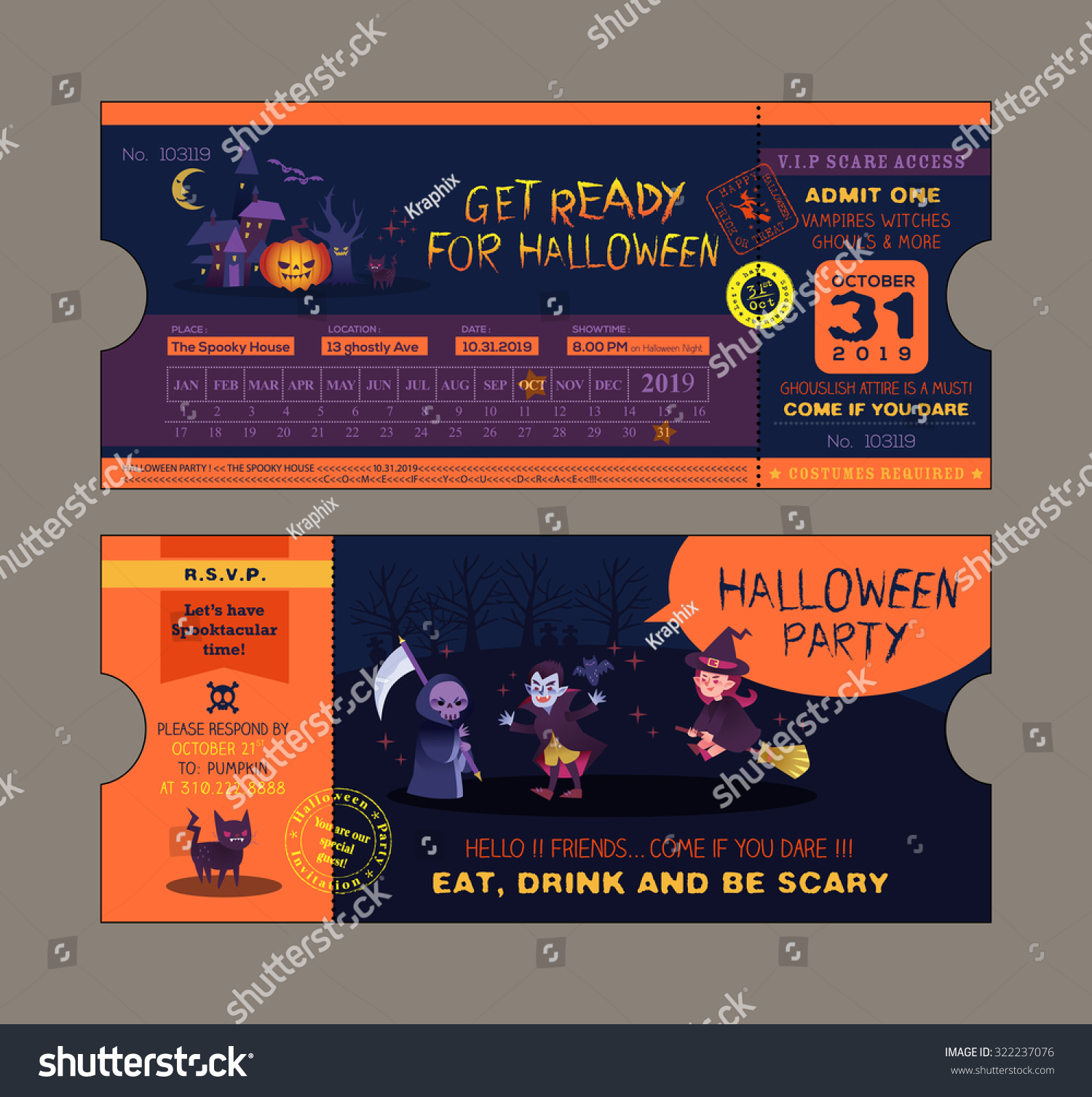 Halloween Party Ticket Card Vector Template  Party Ticket Template