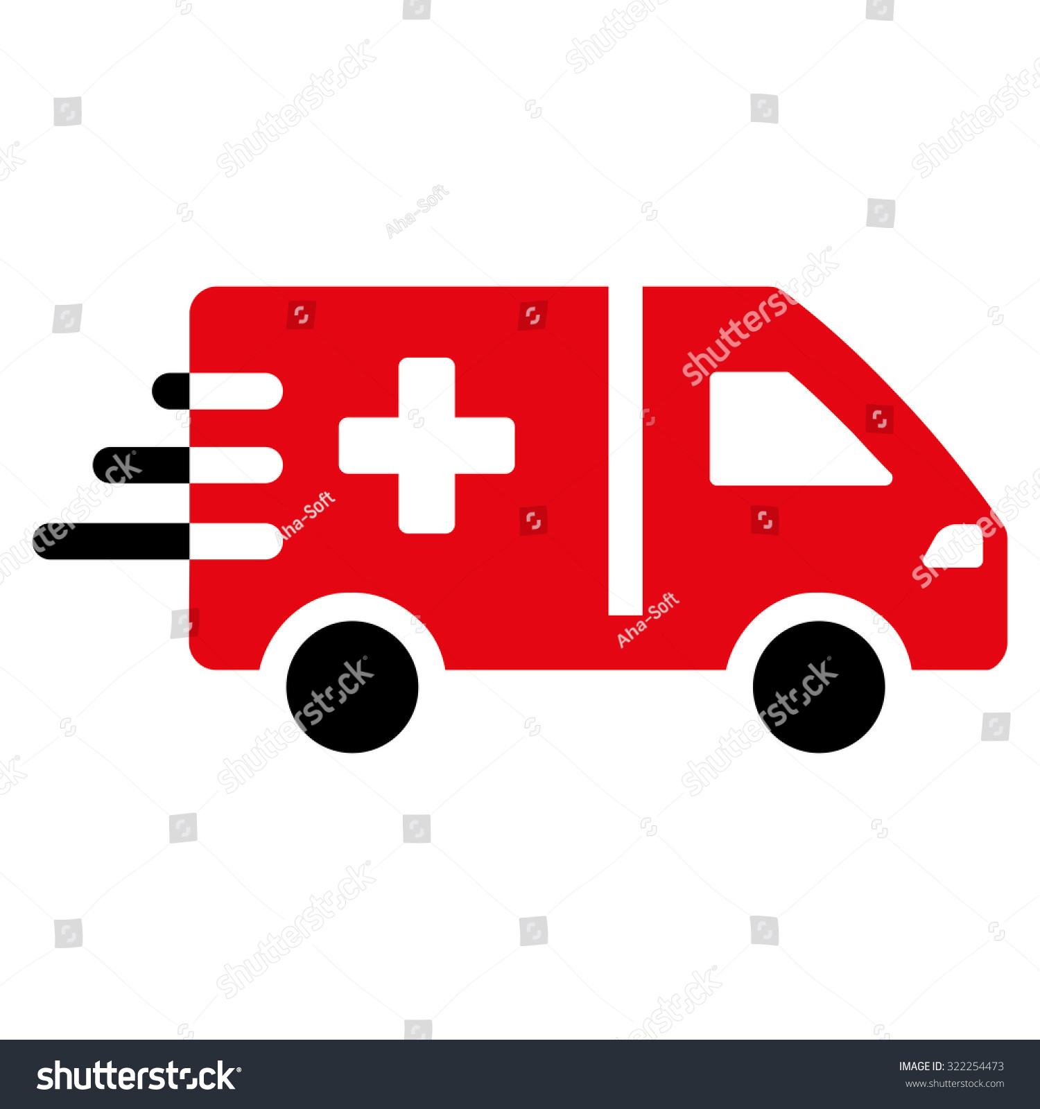 Emergency Car Raster Icon Style Bicolor Stock Illustration 322254473
