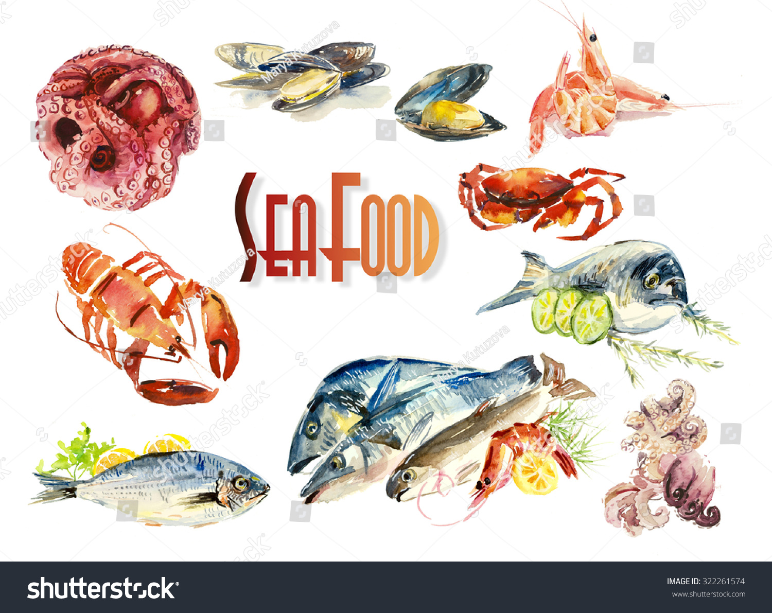 Fish and seafood menu different compositions watercolor for Fish and seafood