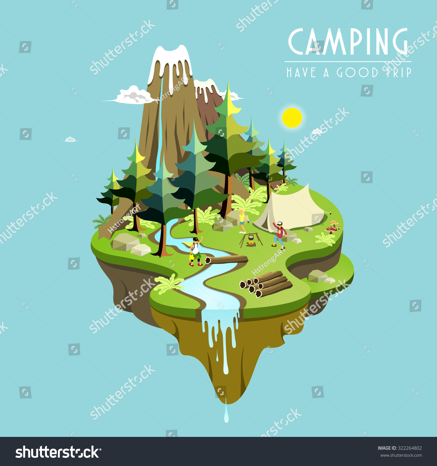 Camping concept 3d isometric flat design stock vector for 3d flat design online
