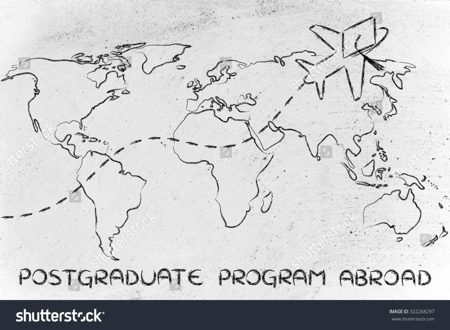 Airplane graduation hat flying above world stock illustration airplane with graduation hat flying above world map concept of postgraduate programs abroad gumiabroncs Image collections