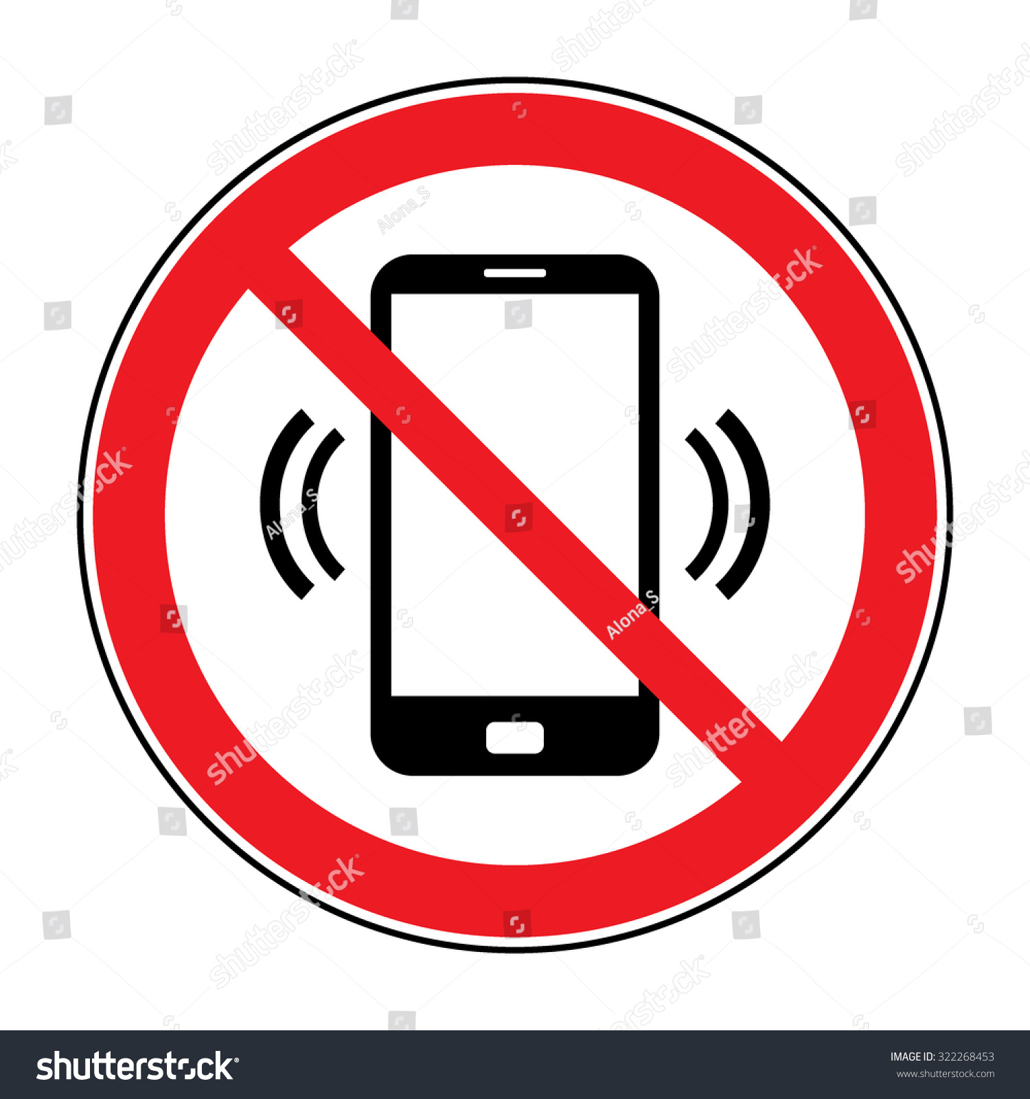 No Cell Phone Sign Mobile Phone Stock Vector 322268453 Shutterstock
