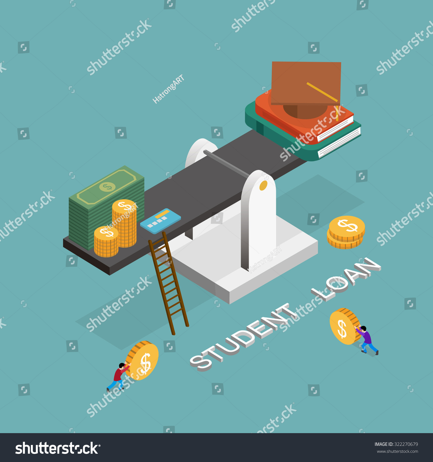 Student Loan Concept In 3d Isometric Flat Design Stock