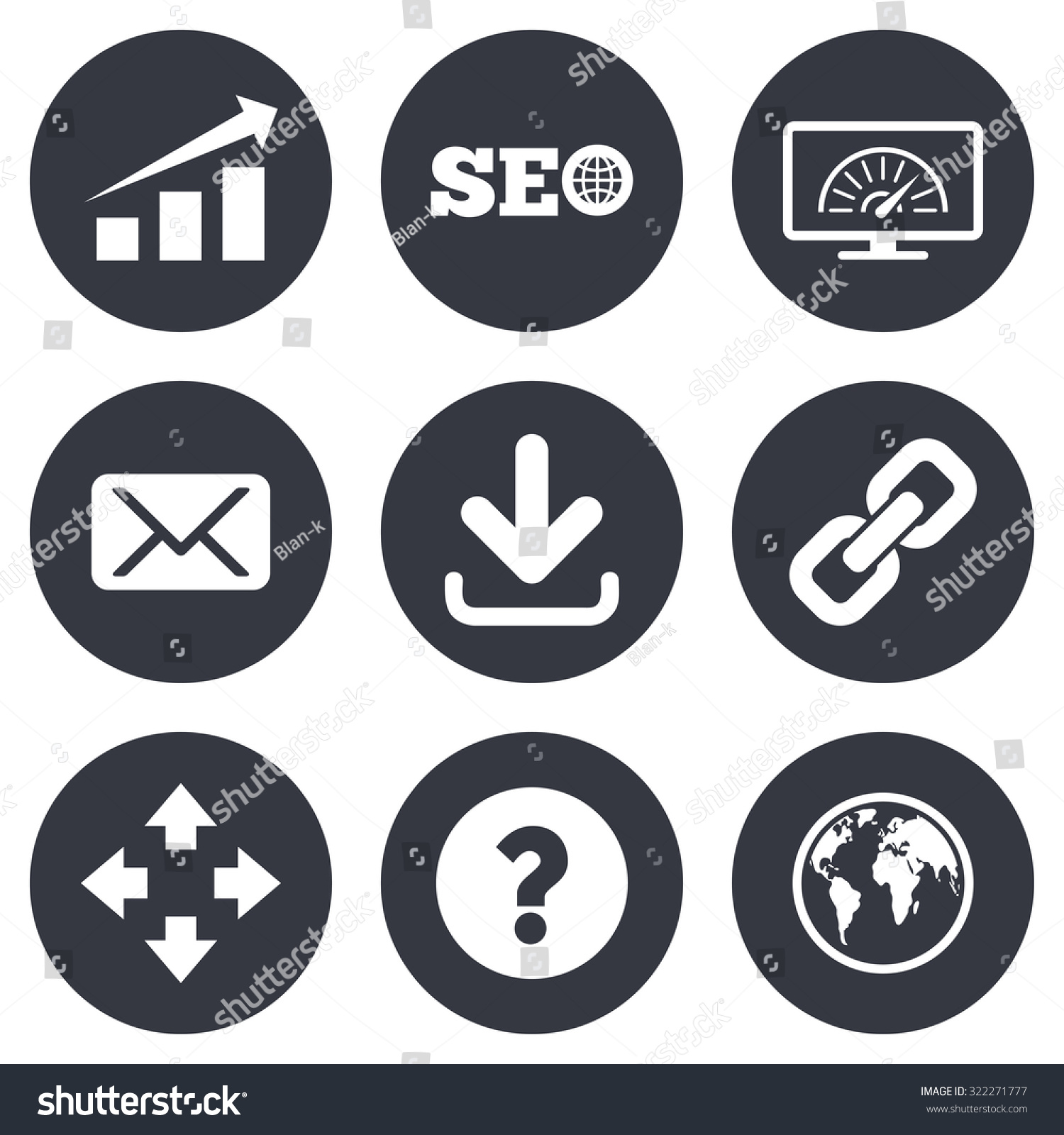 Internet Seo Icons Bandwidth Speed Download Stock Vector Royalty