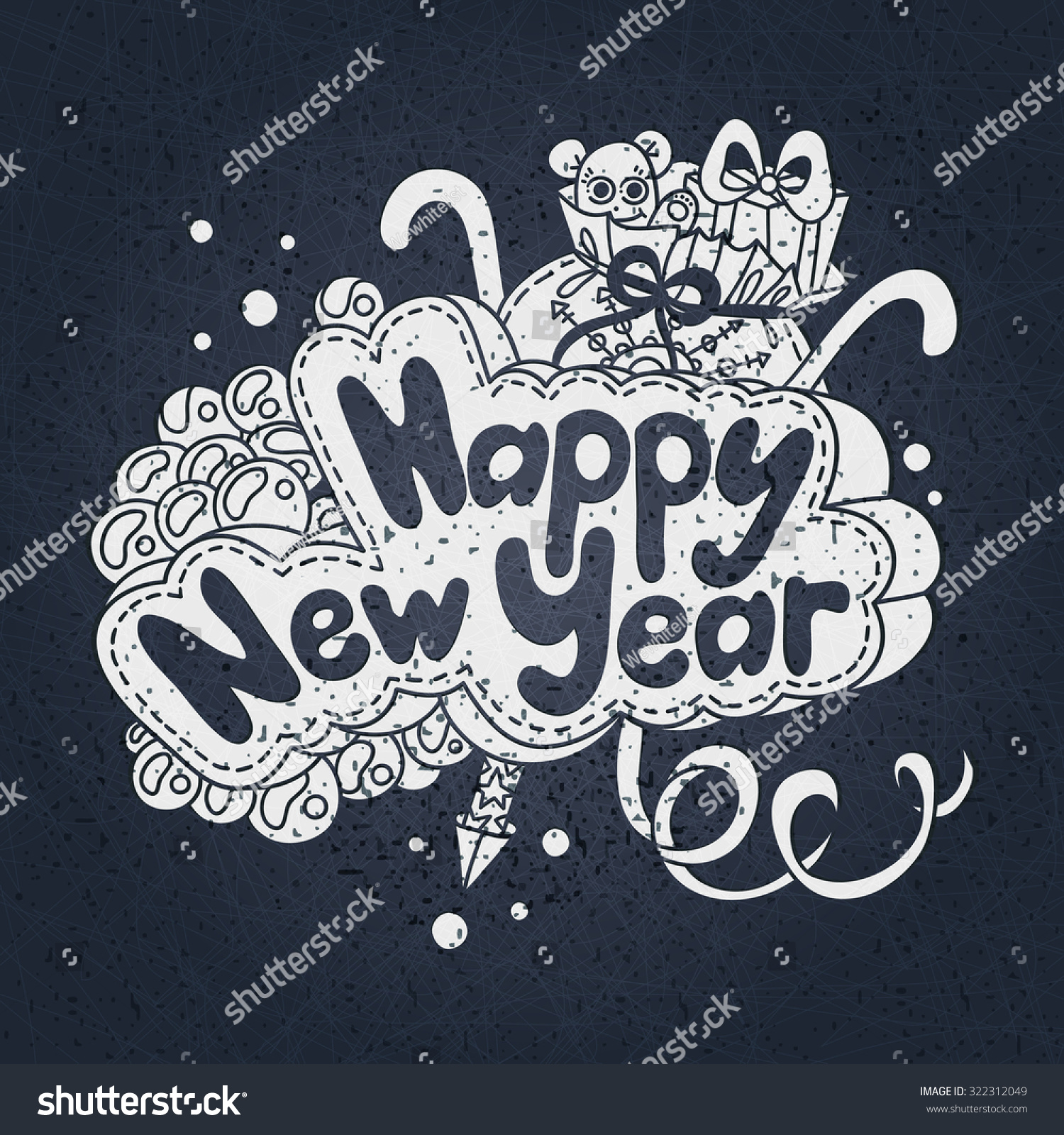 Vector Illustration Happy New Year Text Stock Vector Royalty Free