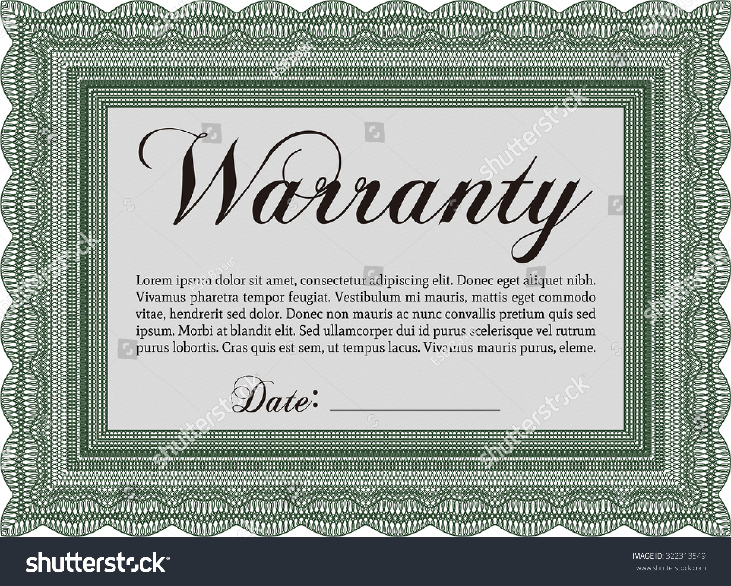 Royalty free sample warranty certificate template 322313549 sample warranty certificate template complex border design perfect style with complex background yadclub Gallery