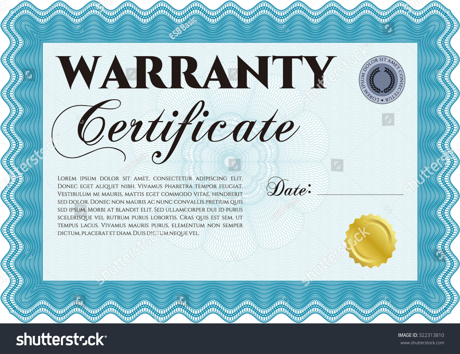 Warranty certificate template complex frame design stock vector warranty certificate template complex frame design easy to print perfect style yadclub Image collections