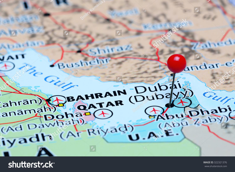 Dubai Pinned On Map Asia Stock Photo (Edit Now) 322321376 on