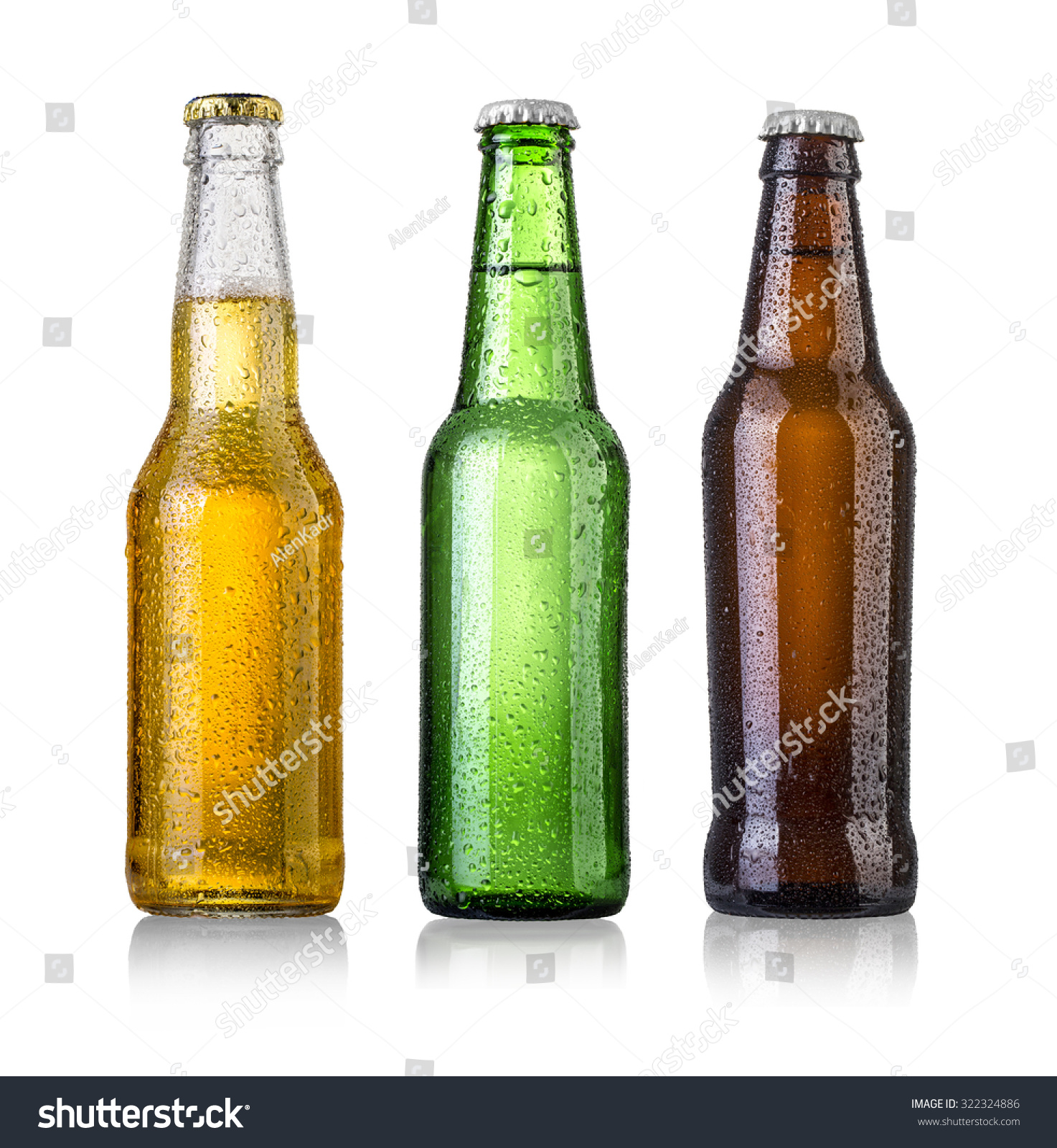 set of Beer bottles with water drops on white background.Five separate photos merged together. #322324886