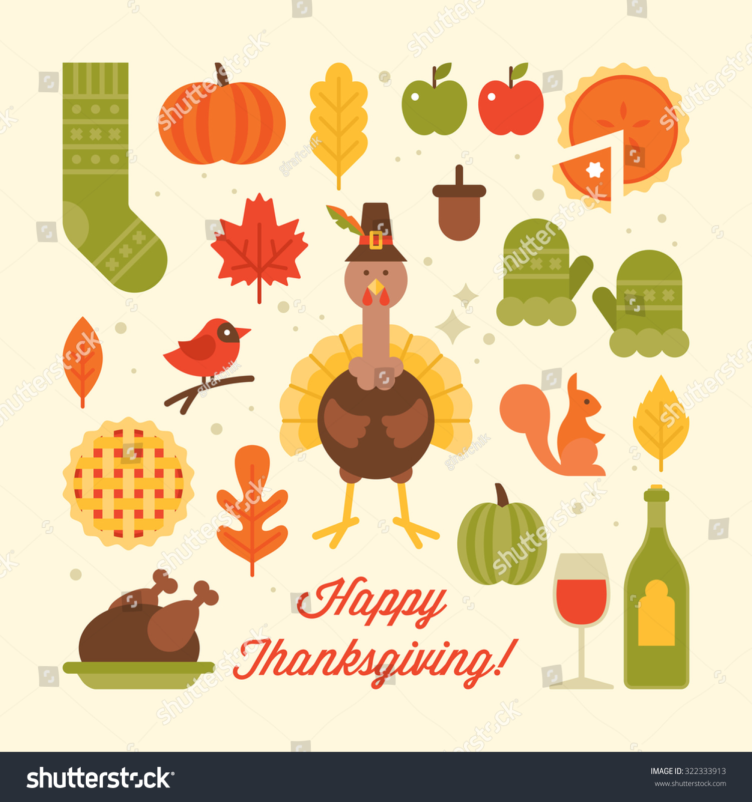 Thanksgiving holiday flat stylish icons Vector illustration
