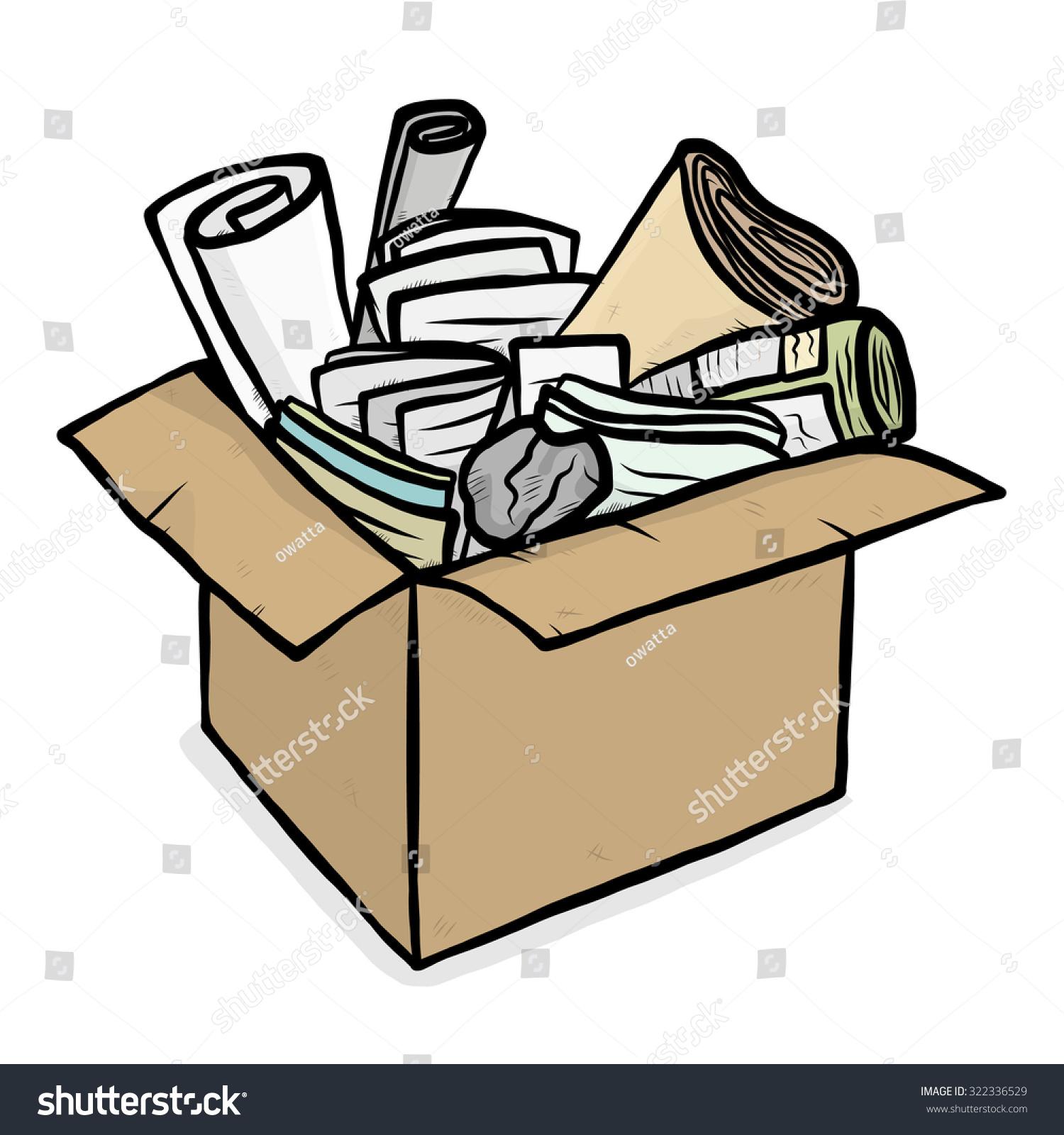 Paper Trash In Cardboard Box    Cartoon Vector And