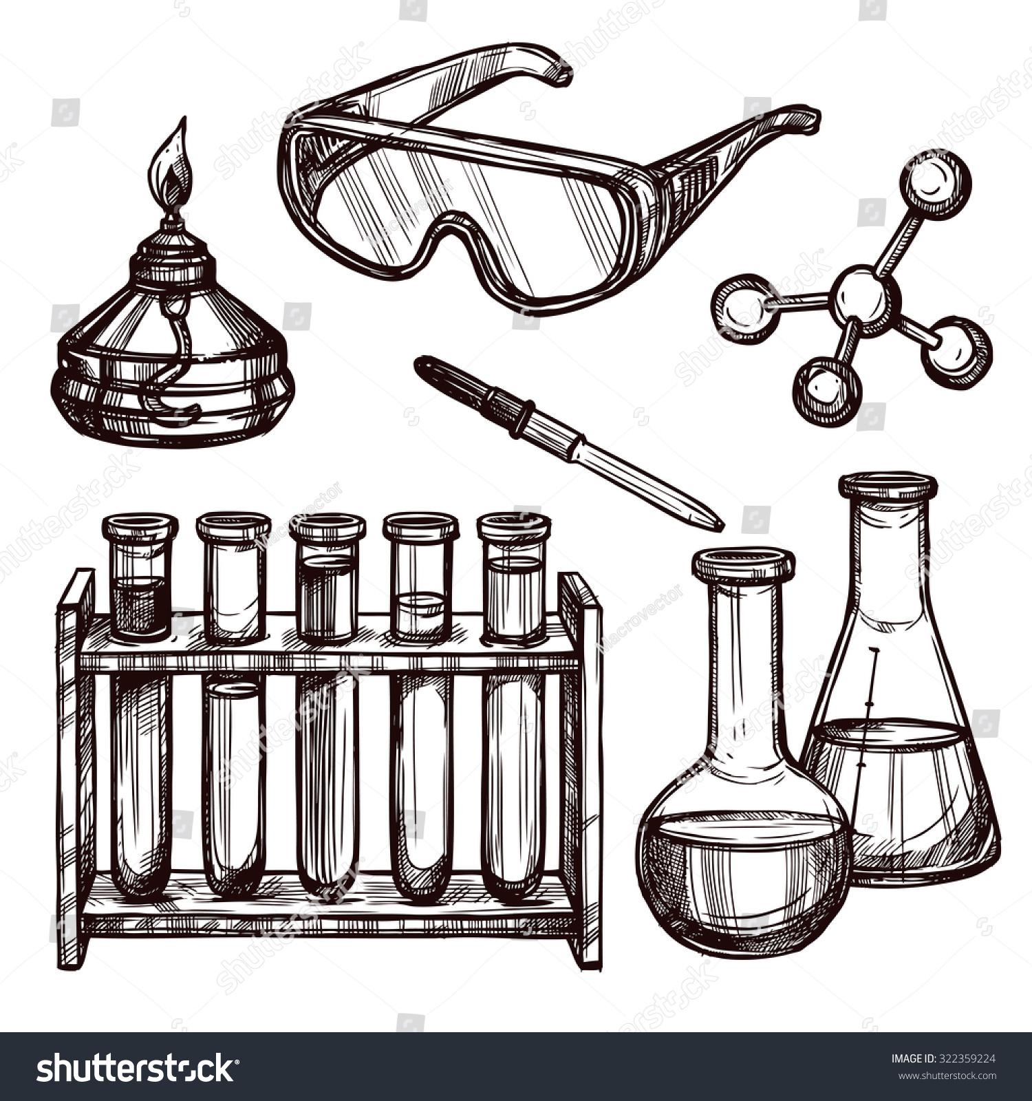 Chemistry Laboratory Tools Devices Black White Stock ...